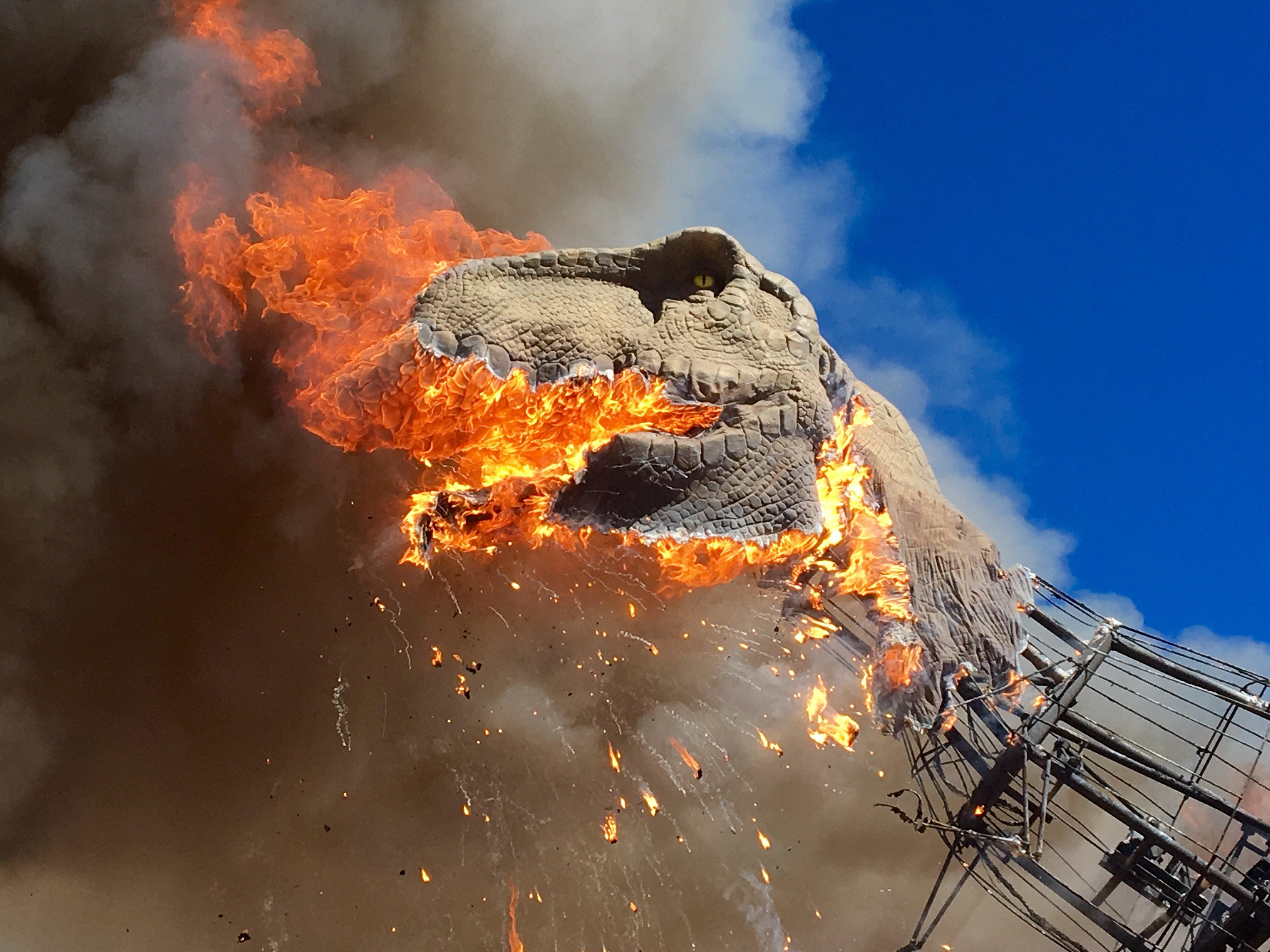Watch T. rex burst into flames at dino park - CNN Video