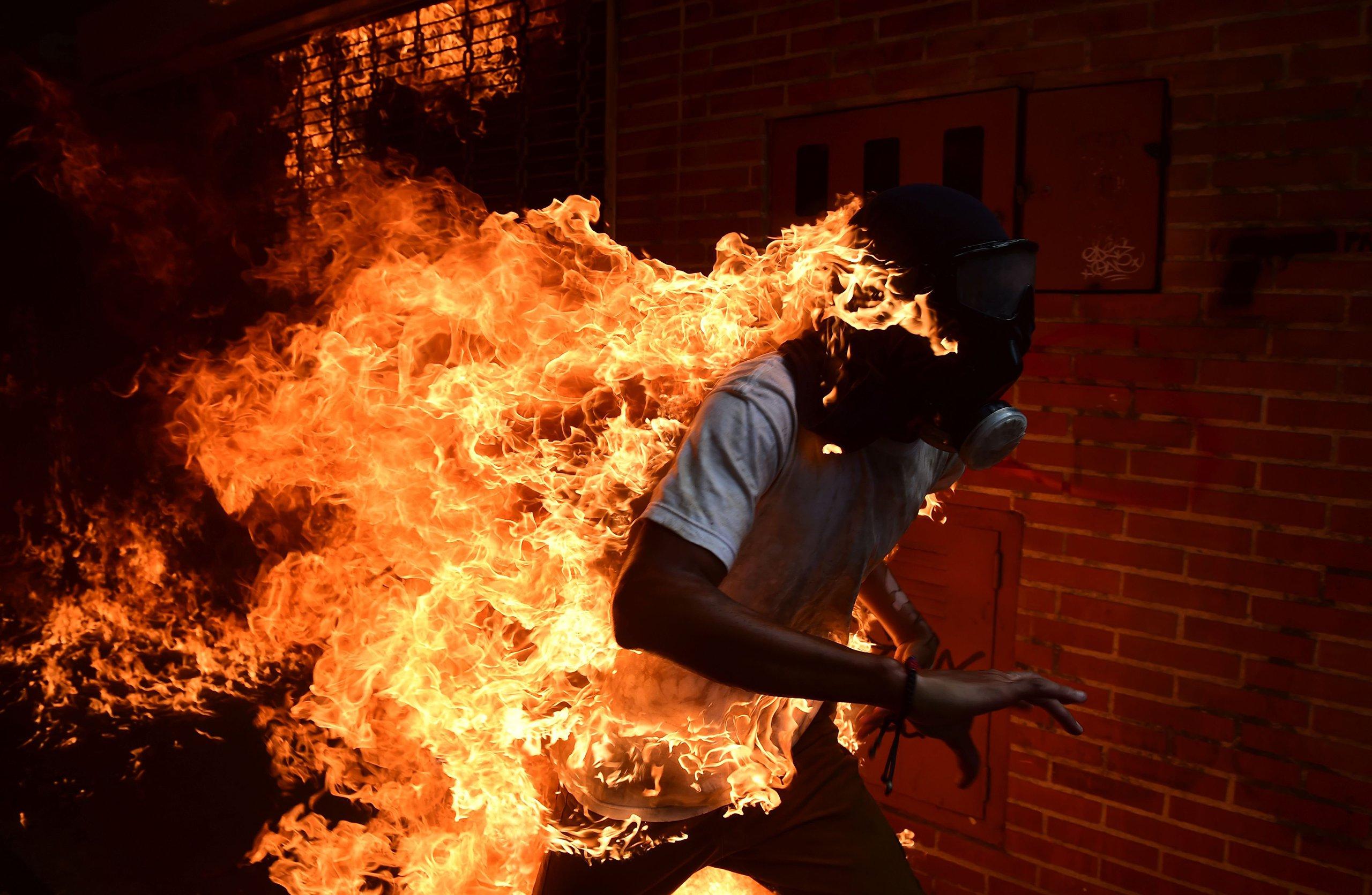 Caracas: Harrowing Photos of Protester on Fire in Venezuela | Time.com