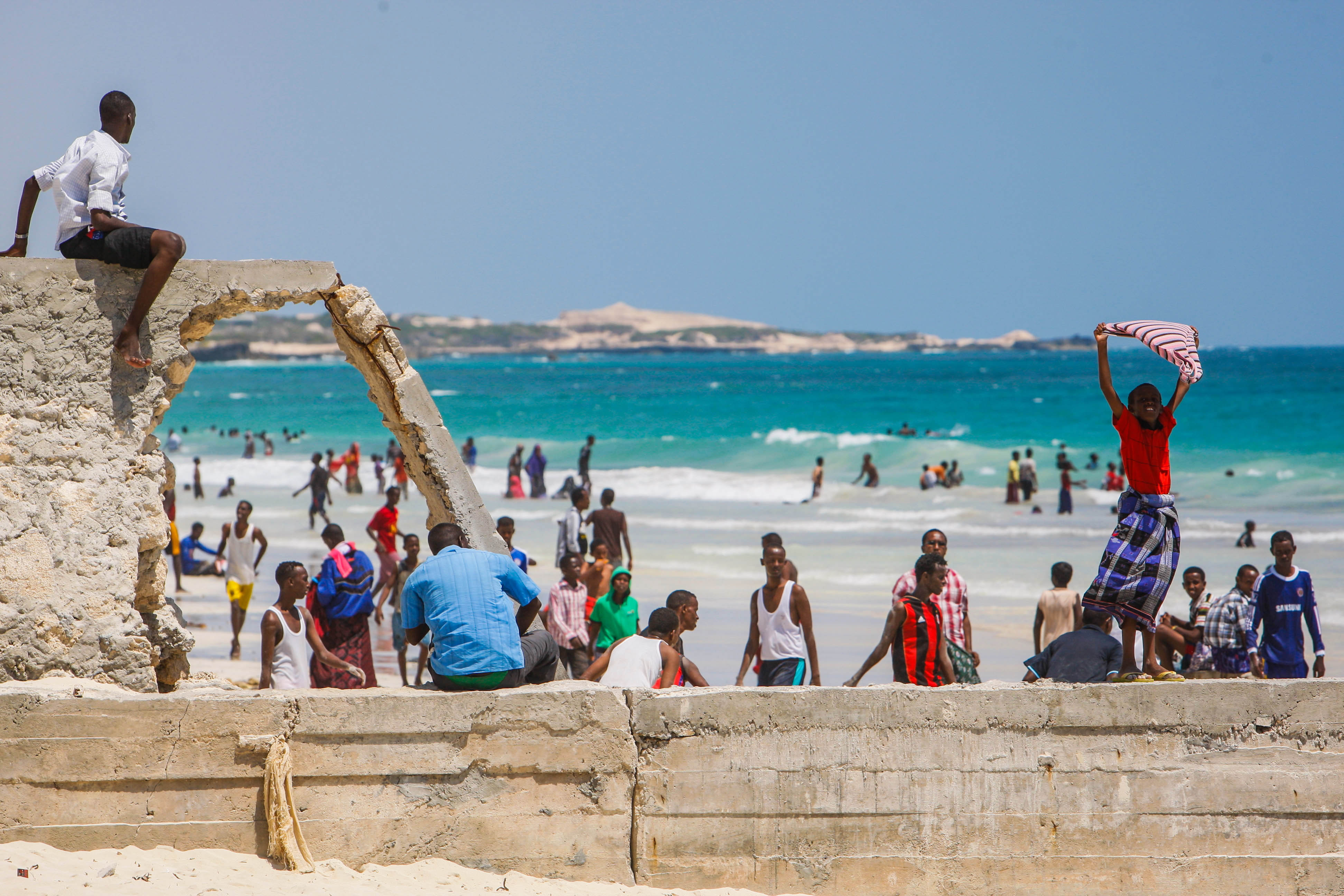 On foot patrol in Mogadishu with an AMISOM Formed Police Unit 18, AMISOM, Beach, Civilians, Landscape, HQ Photo