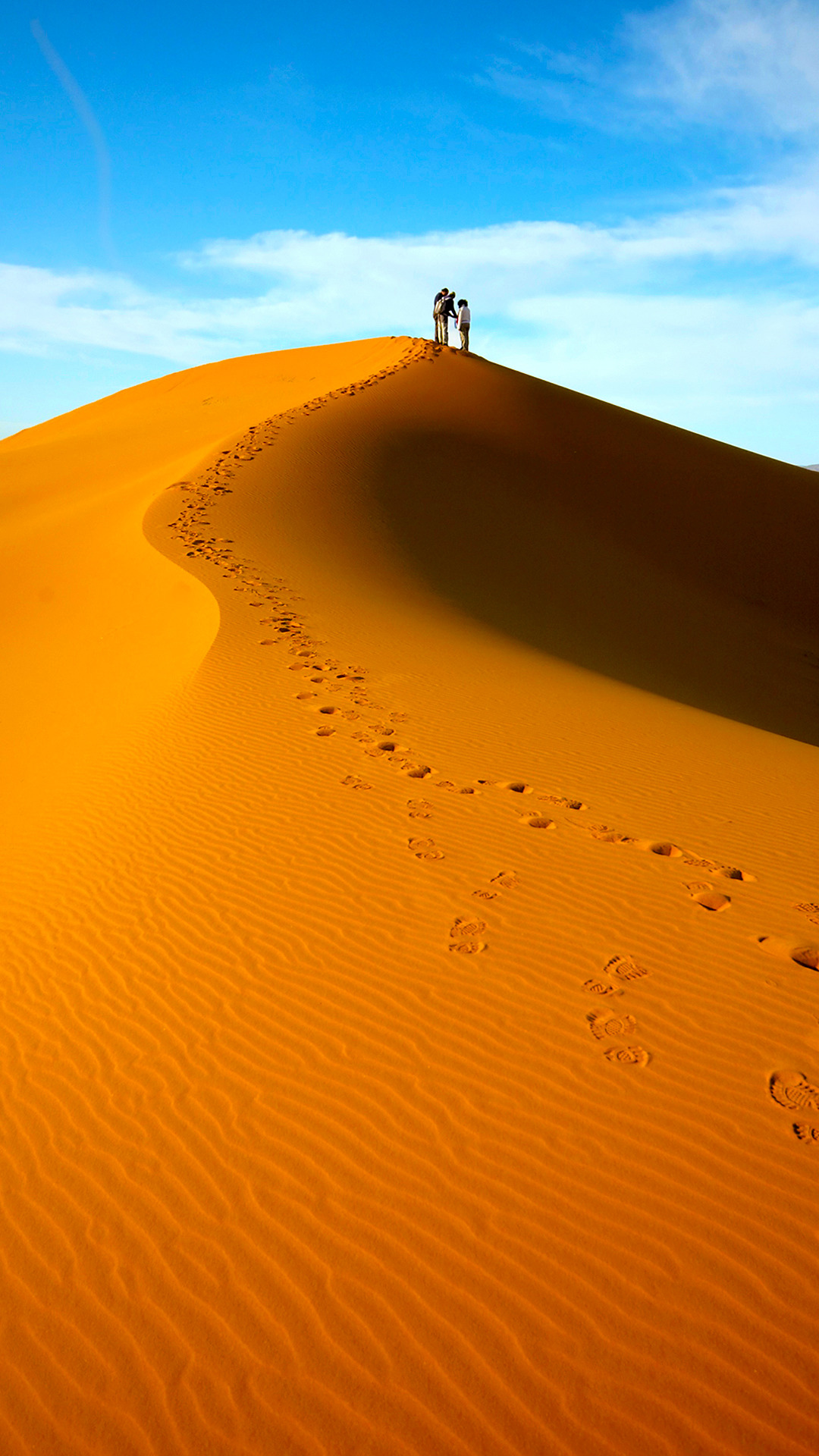 On Top of the Dunes, Desert, Dunes, Footsteps, People, HQ Photo