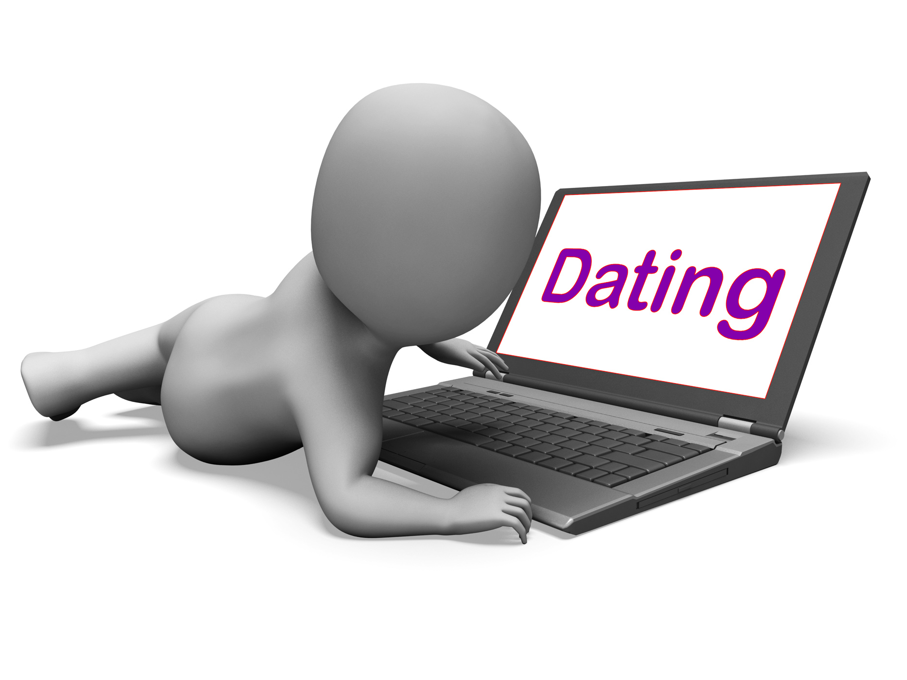 Online Dating Character Laptop Shows Romance And Web Love, Partner, Web, Virtual, Sweetheart, HQ Photo