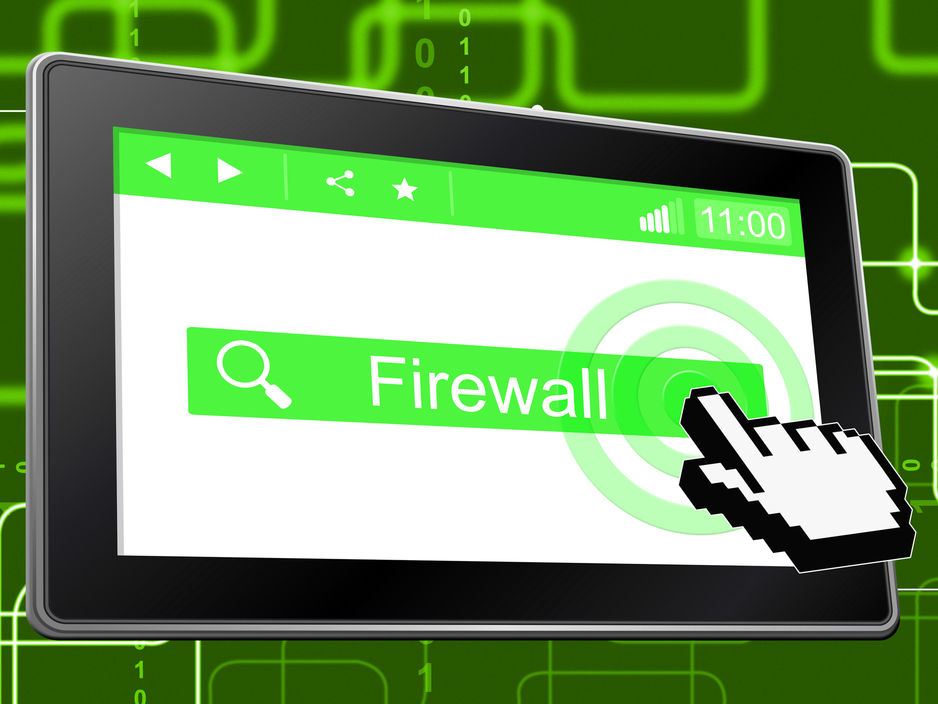 Online firewall represents world wide web and defence photo