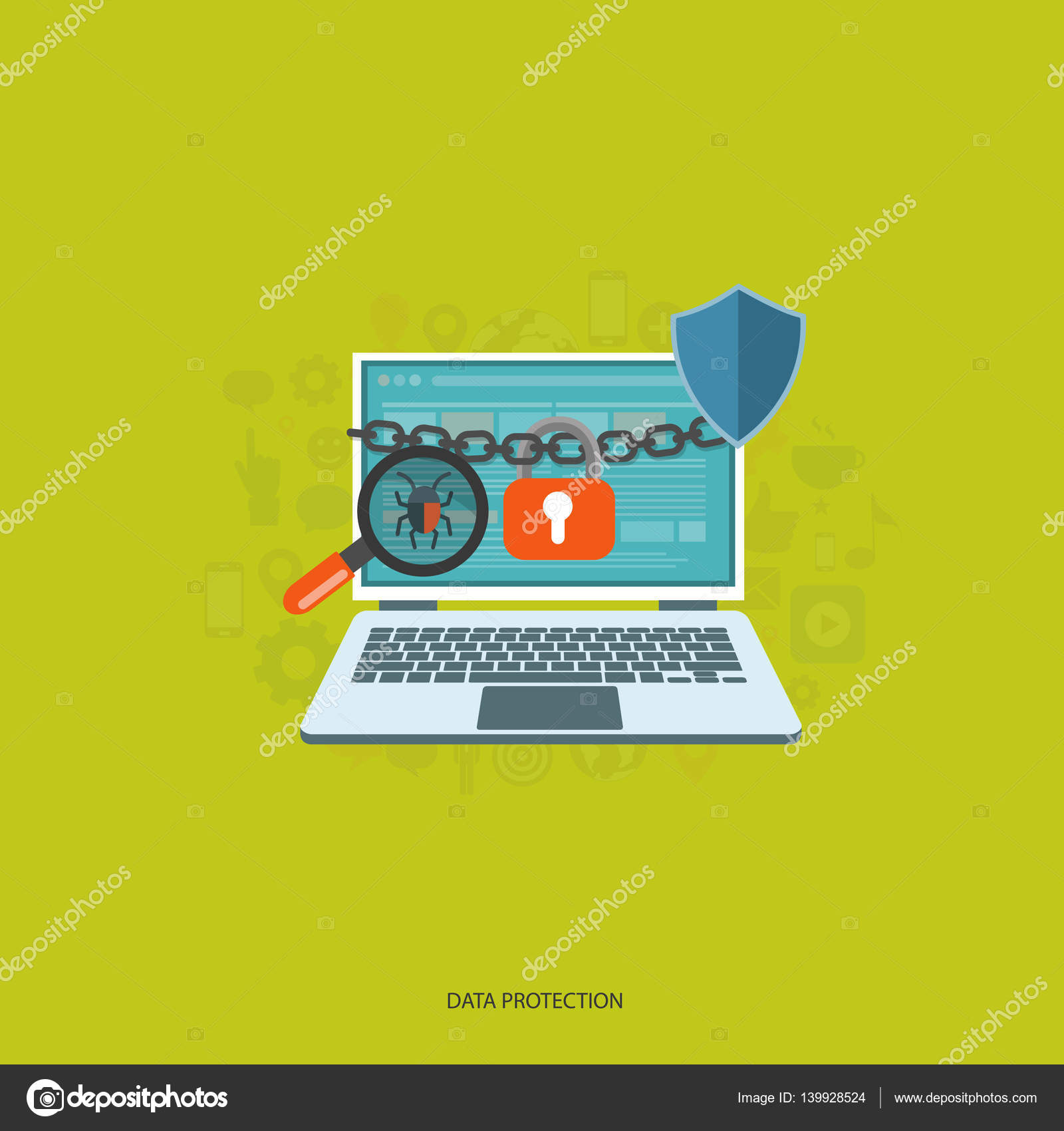 Data protection and on line security concept. Flat vector ...