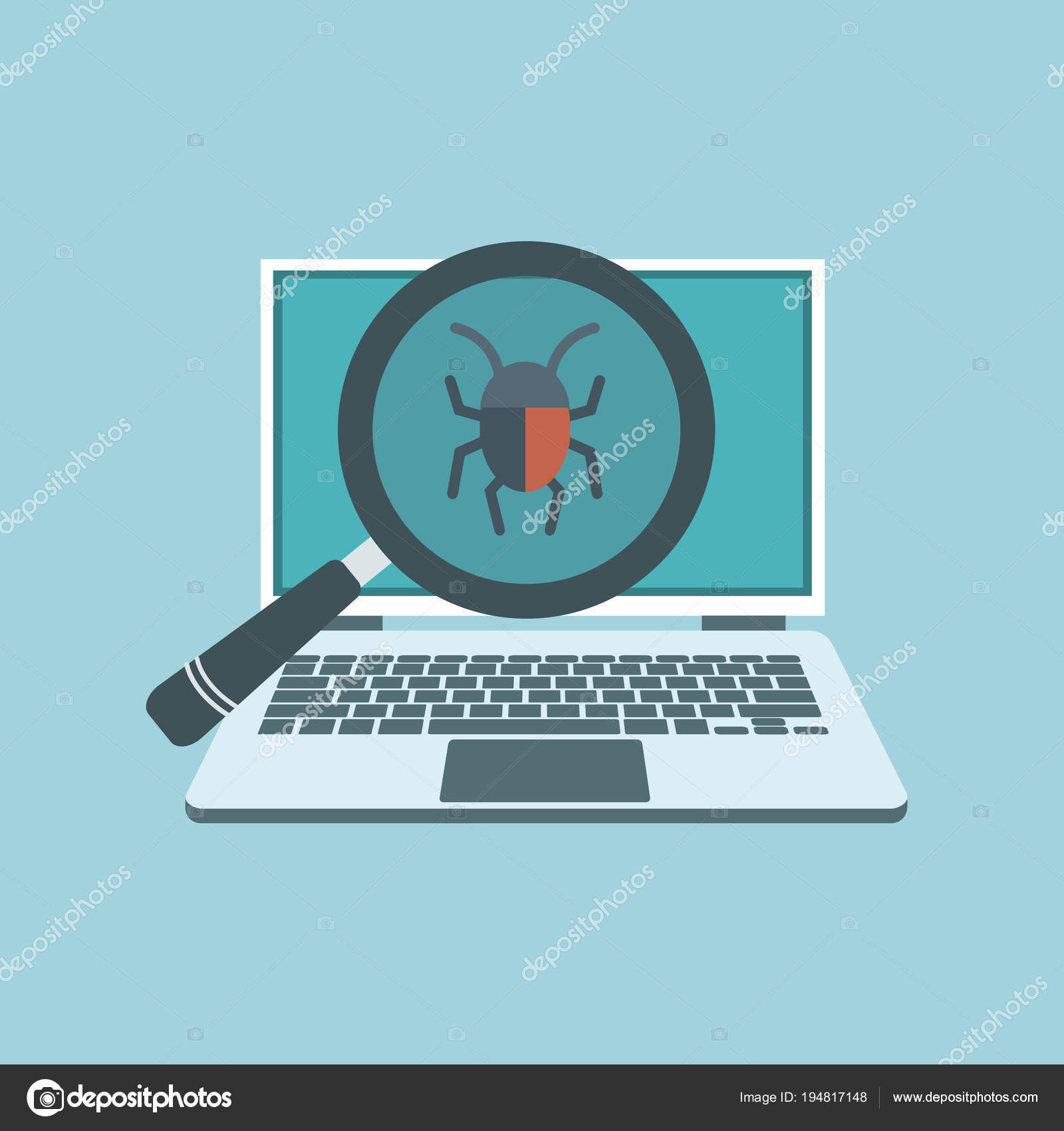 Data Protection Line Security Concept Flat Vector Illustration ...