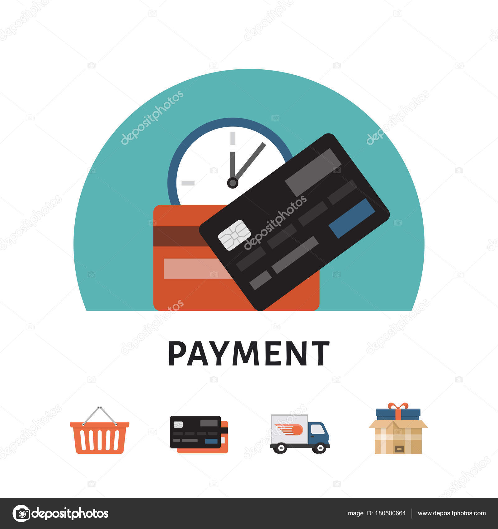 Payment. Online shopping concept. Shopping icons. Flat style, vector ...
