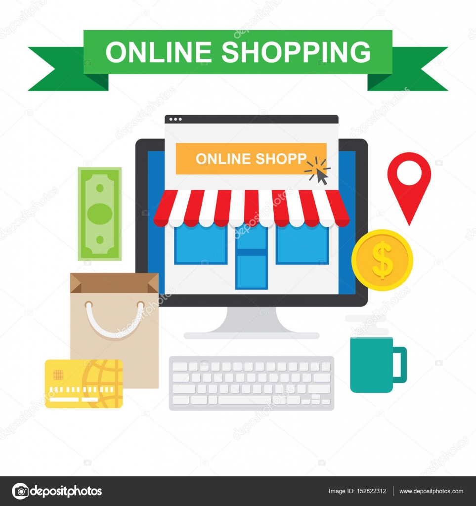 Online shopping concept with store — Stock Vector © Makc76 #152822312