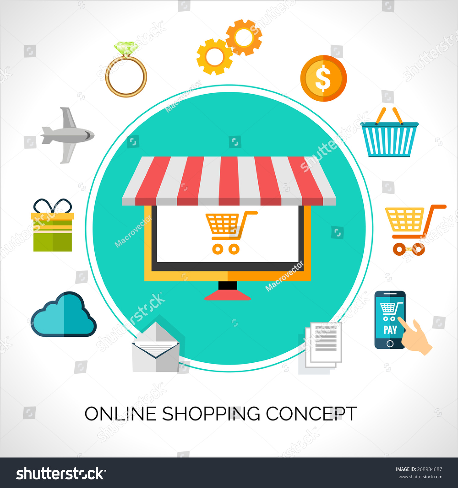 Online Shopping Concept Ecommerce Flat Decorative Stock Vector (2018 ...