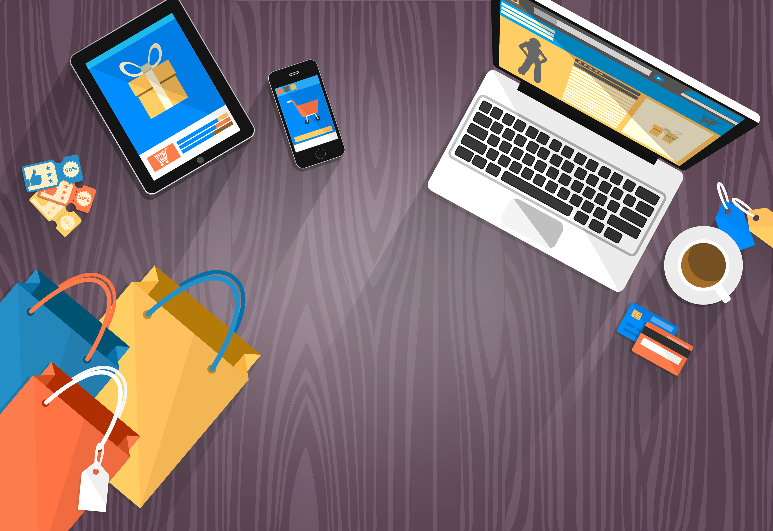 Online shopping - devices and bags with copyspace photo