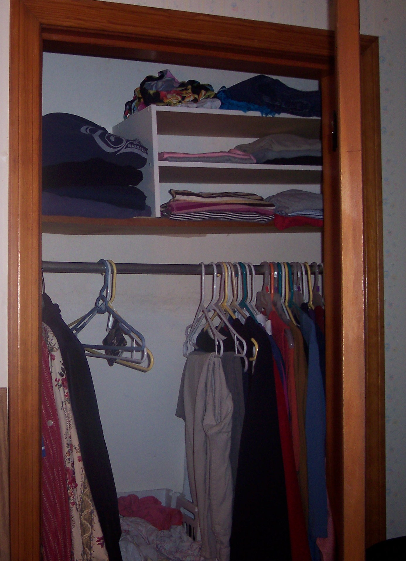 Open Closet Door Shelves Hanging Folded Hq Photo