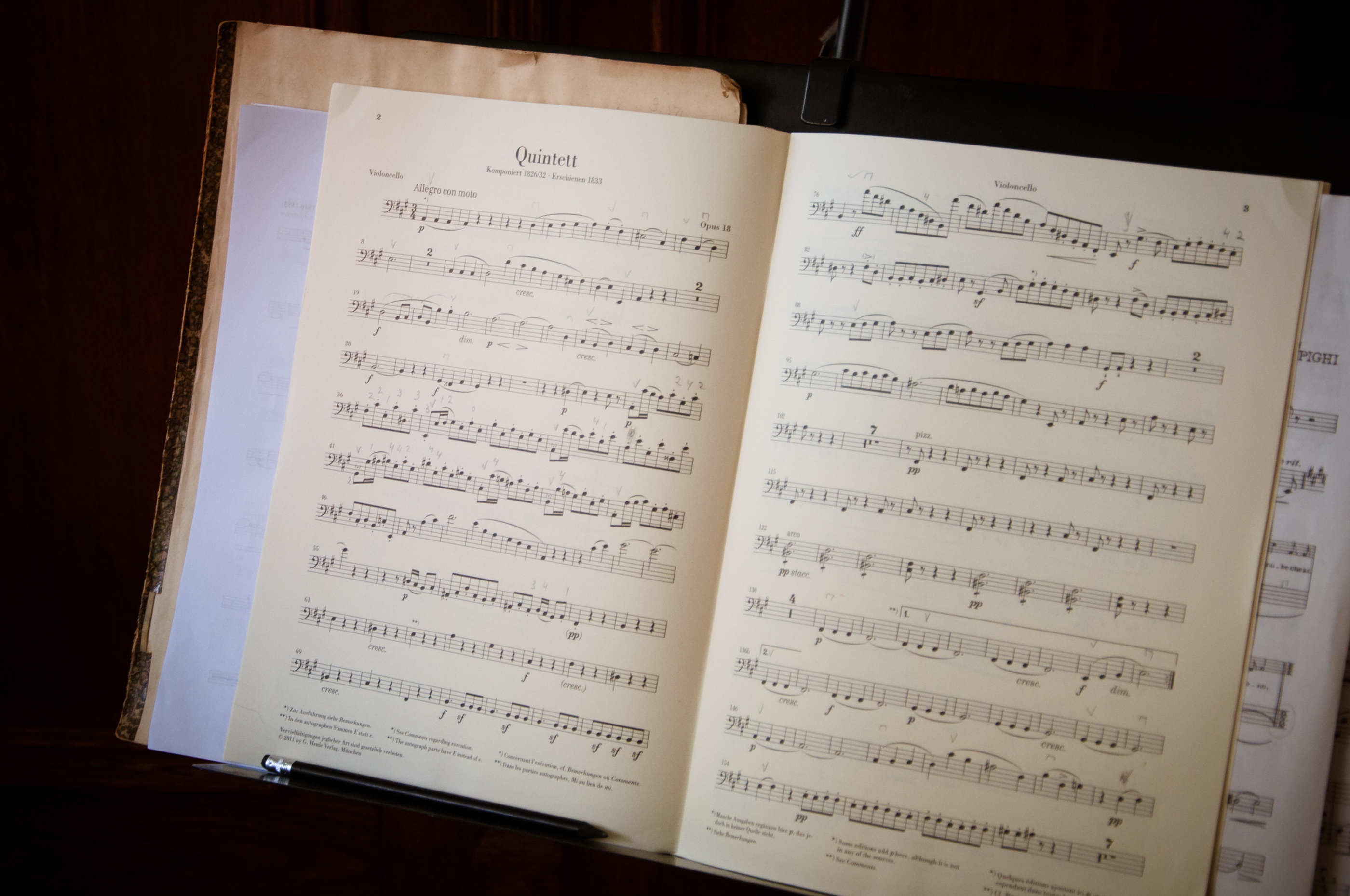 Open music book and notes photo