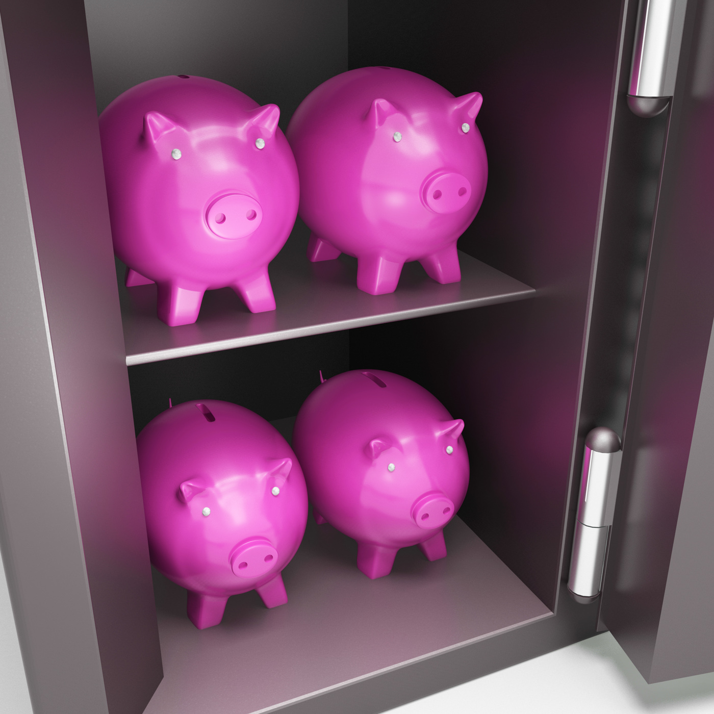 Open safe with piggy showing safe savings photo