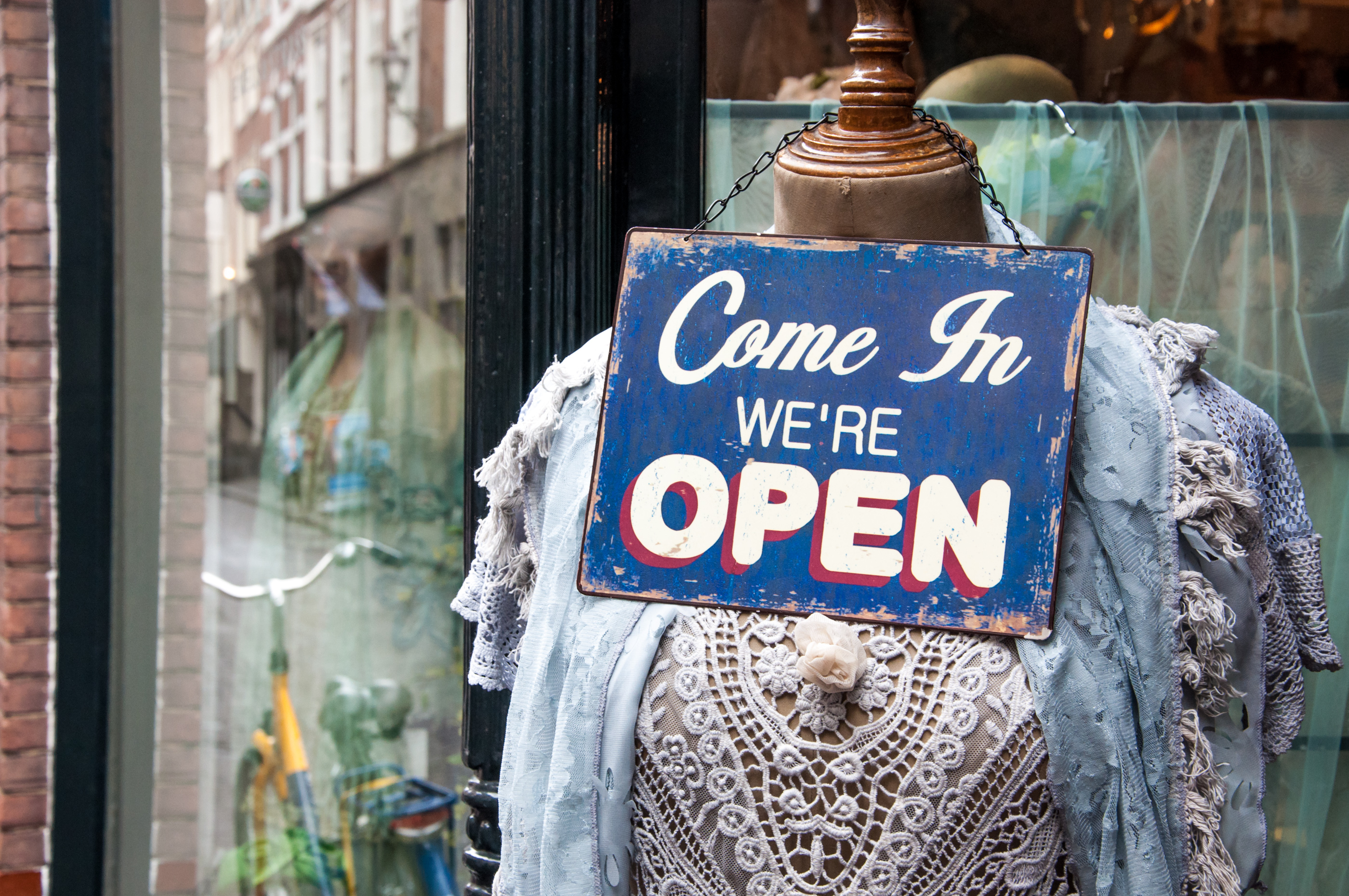 Open sign shop window photo