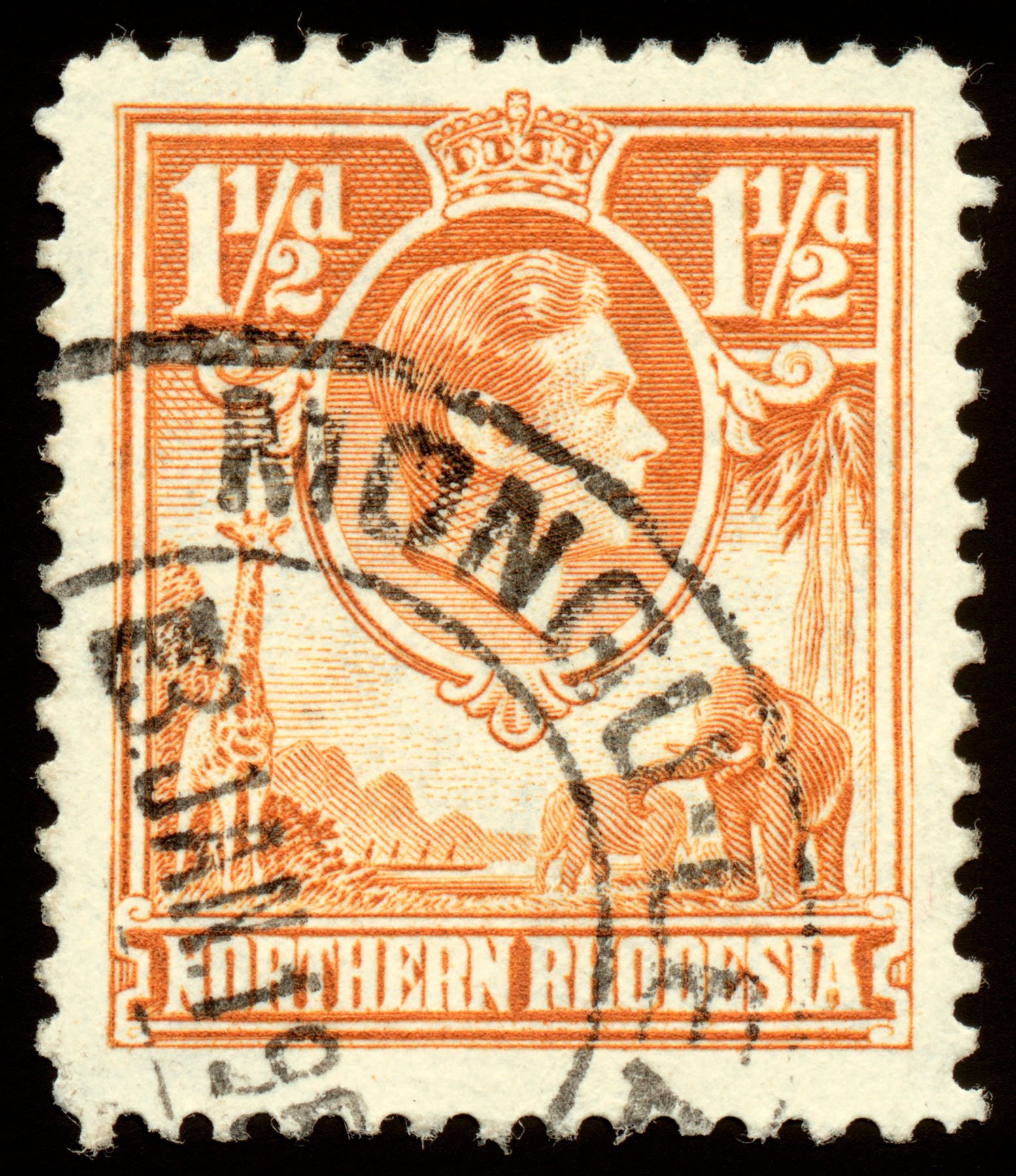 Orange king george vi stamp photo