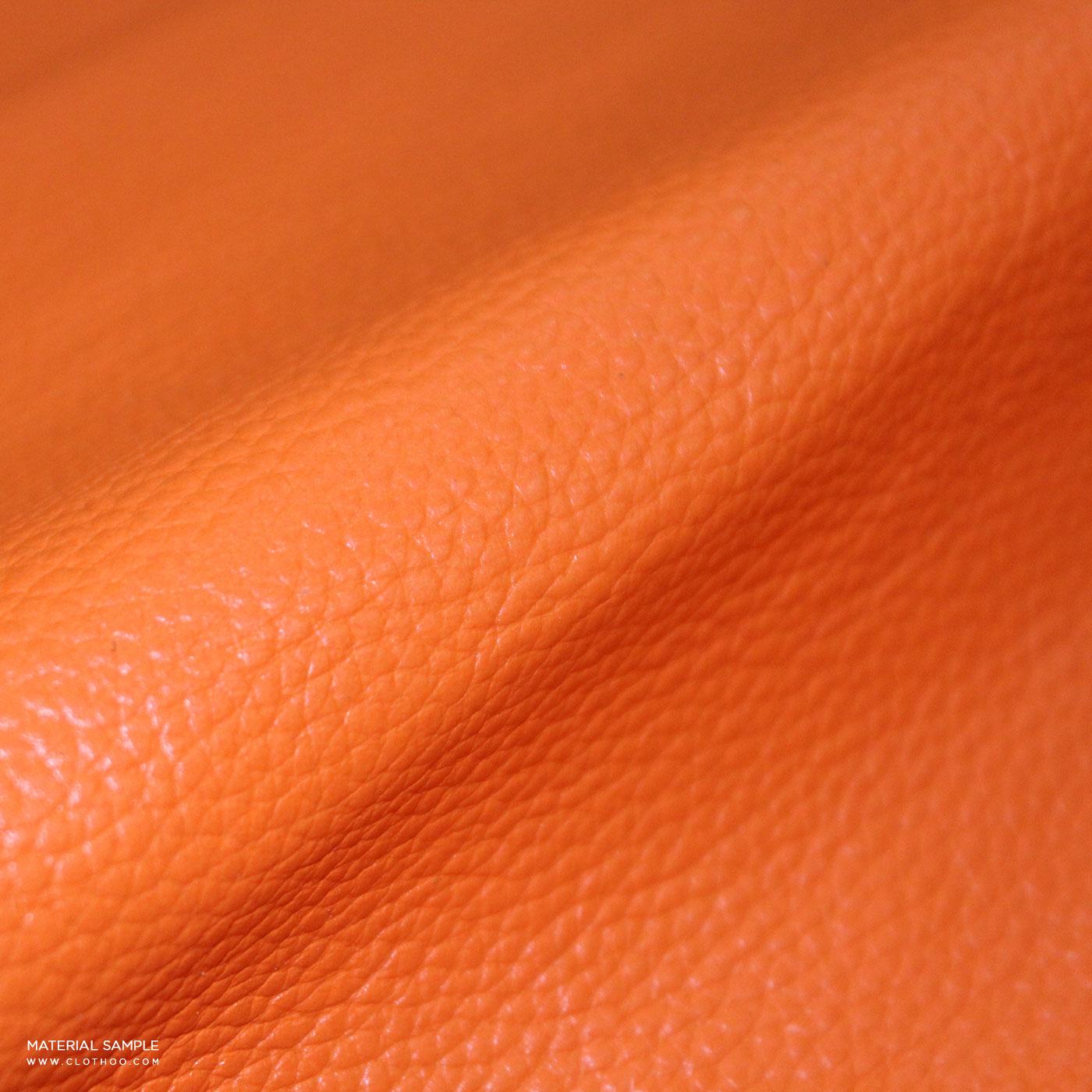 Orange Leather Sleeves Navy Blue Wool Varsity Jacket | Clothoo