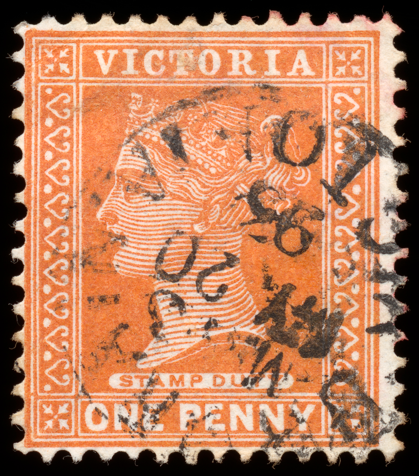 Orange queen victoria stamp photo
