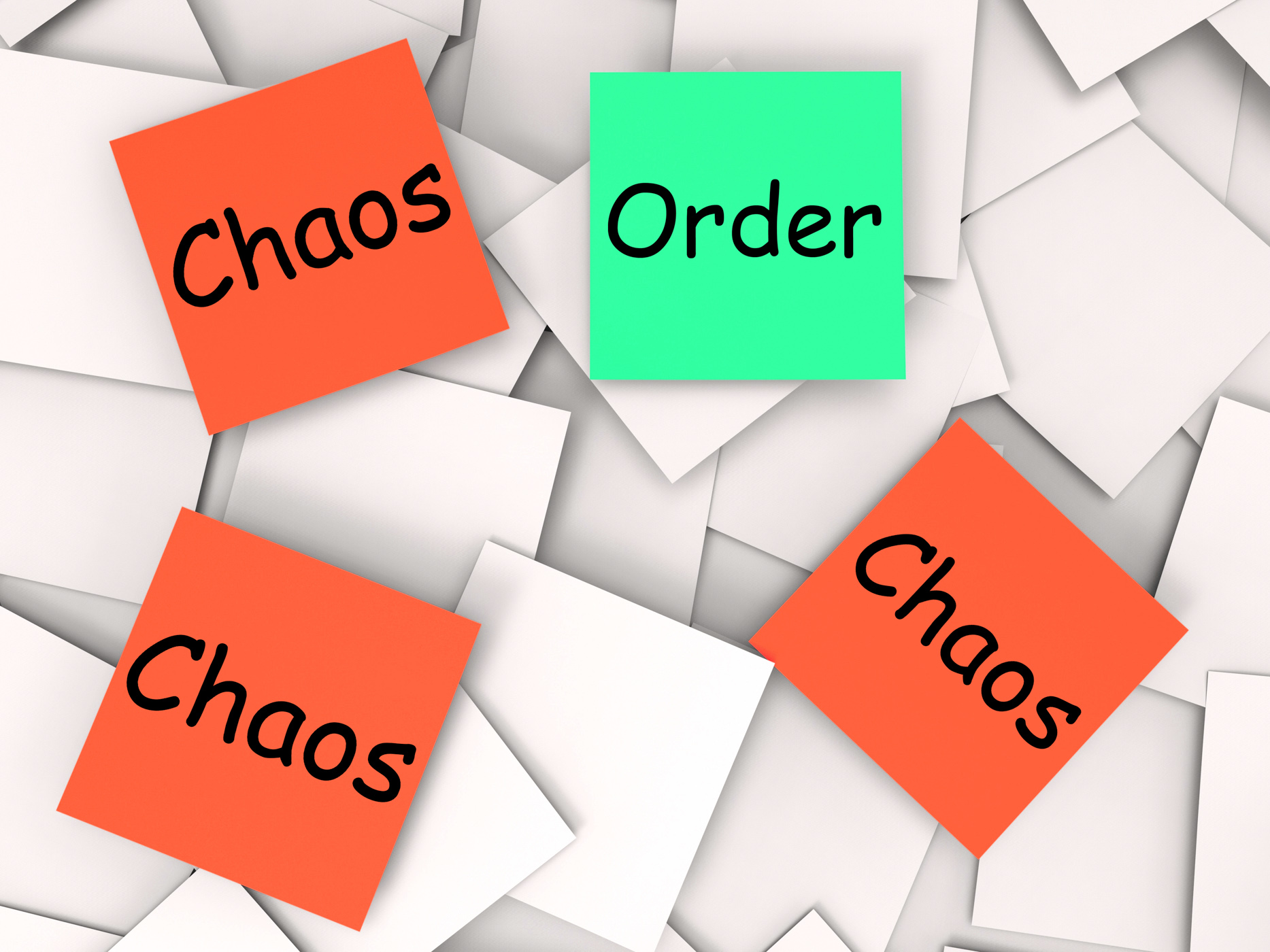 Order Chaos Post-It Notes Mean Orderly Or Chaotic, Anarchy, Ordered, System, Structure, HQ Photo
