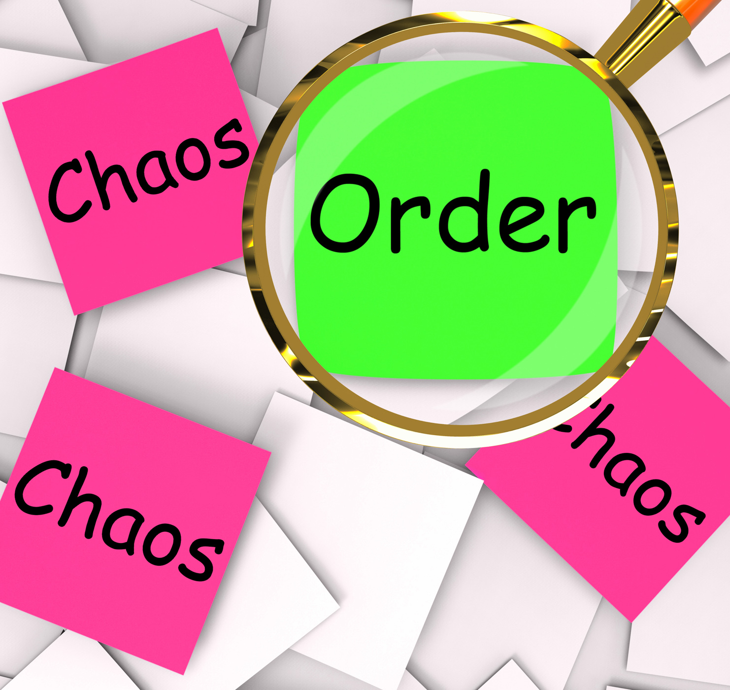 Order chaos post-it papers mean orderly or chaotic photo