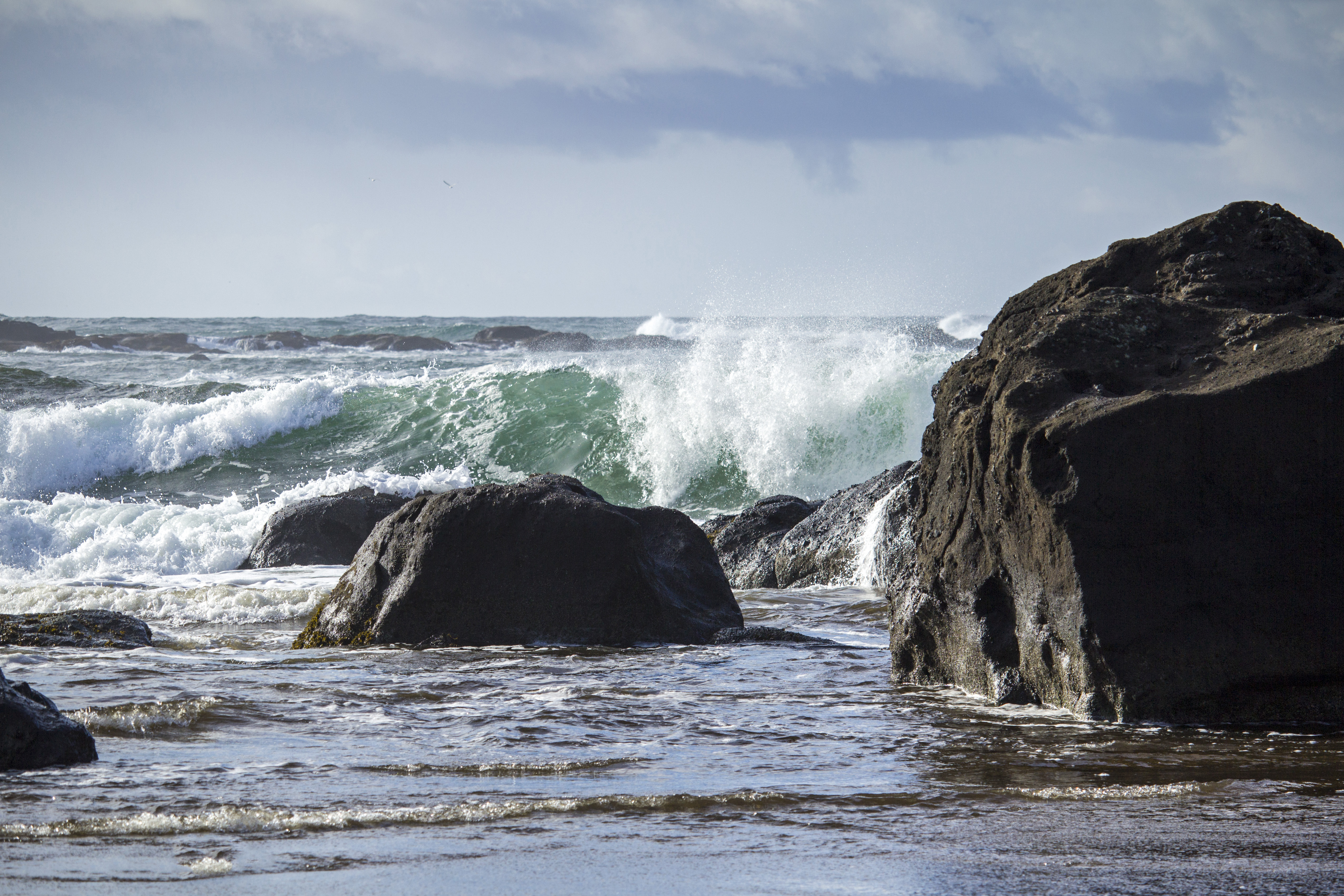 Oregon coast, waves, Coast, Green, Ocean, Oregon, HQ Photo