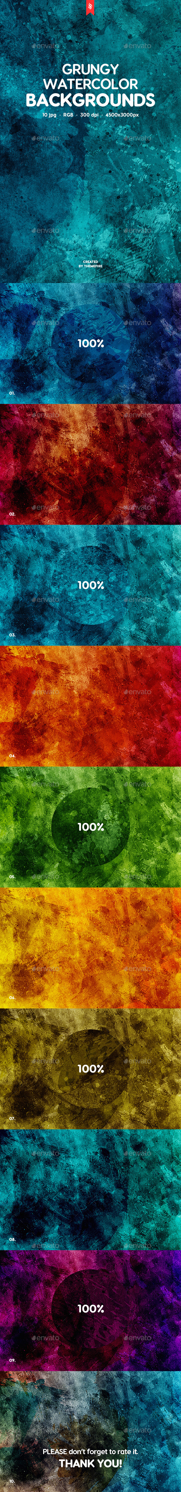Grunge Watercolor Backgrounds by themefire | GraphicRiver