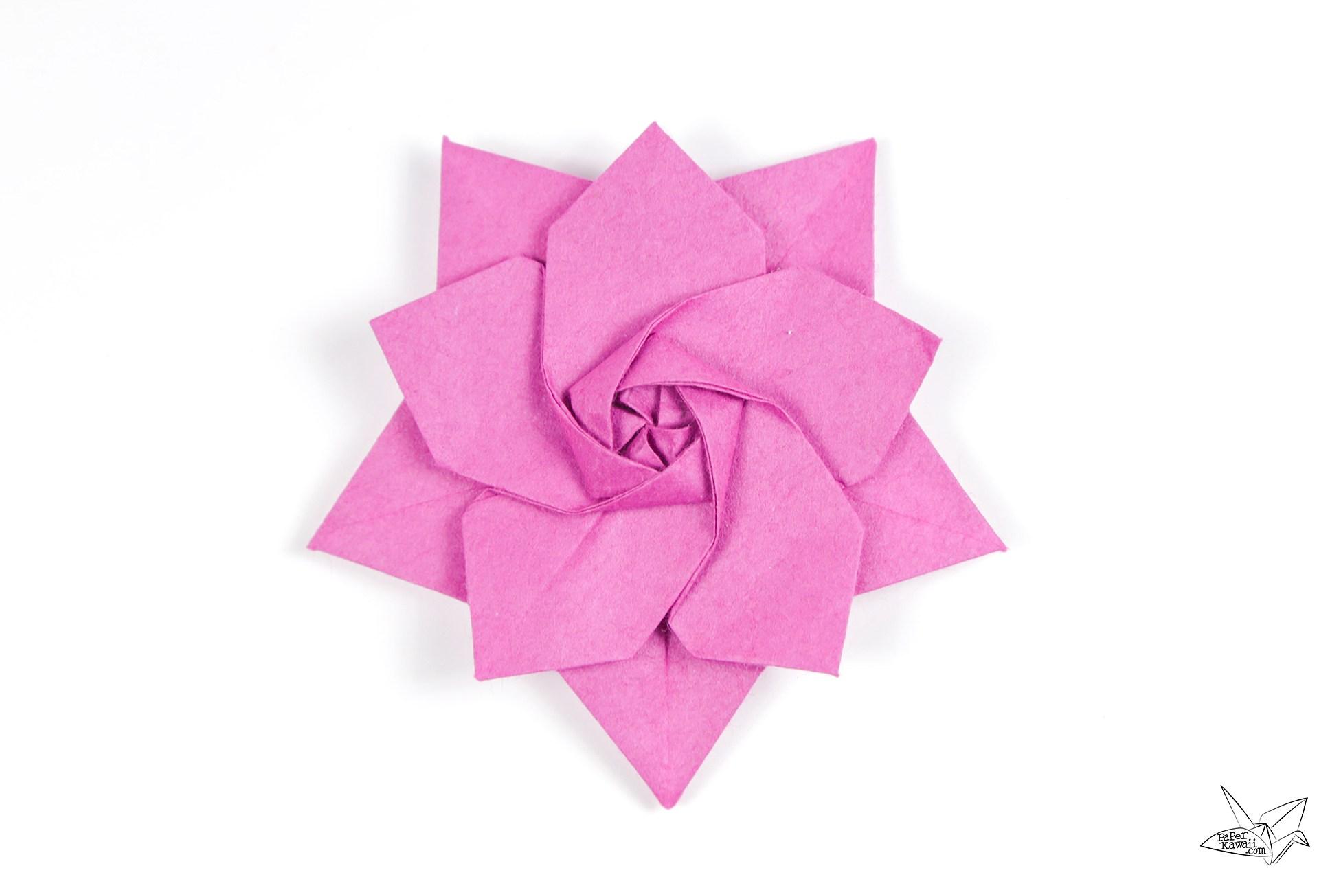 Origami Sakura Star Tutorial - Designed by Ali Bahmani - Paper Kawaii