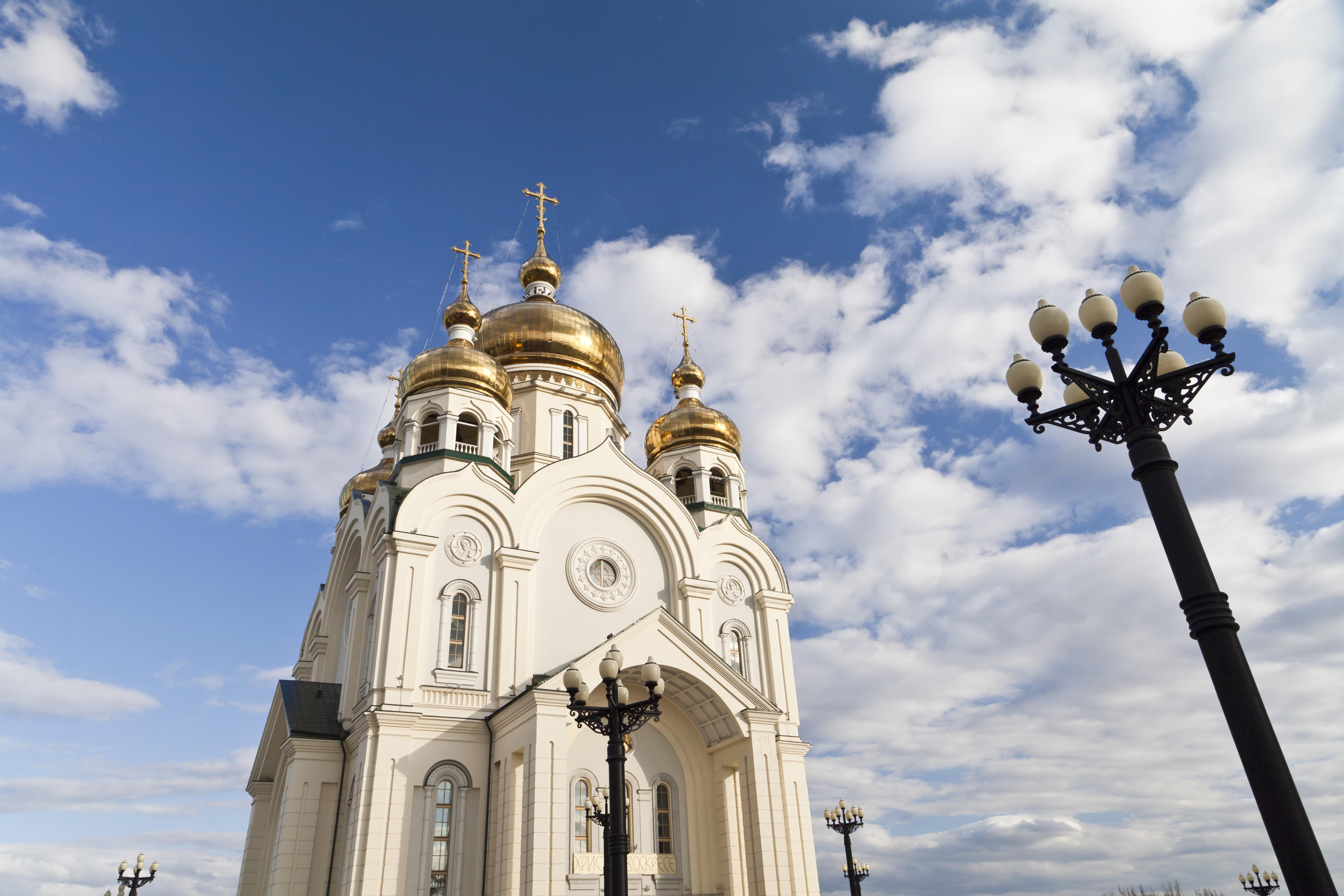Orthodox church against the blue sky, Ancient, Pray, Holy, Landmark, HQ Photo