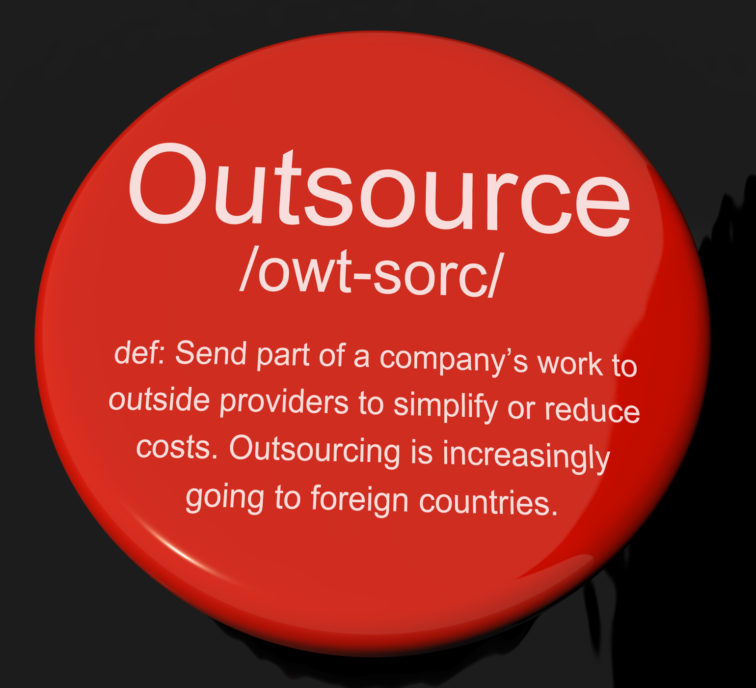 Outsource definition button showing subcontracting suppliers and freel photo