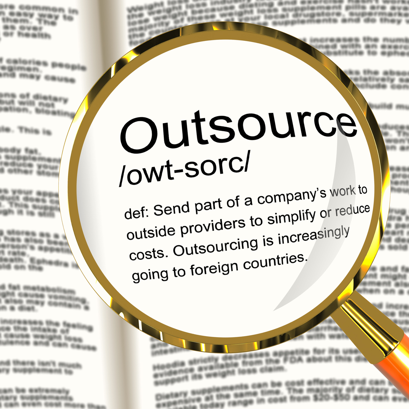 Free photo: Outsource Definition Magnifier Showing Subcontracting