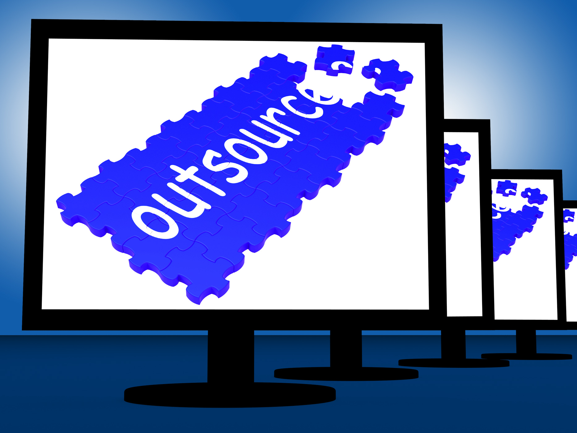 Outsource On Monitors Shows Subcontracts, Outsourced, TV, Subcontracting, Subcontract, HQ Photo