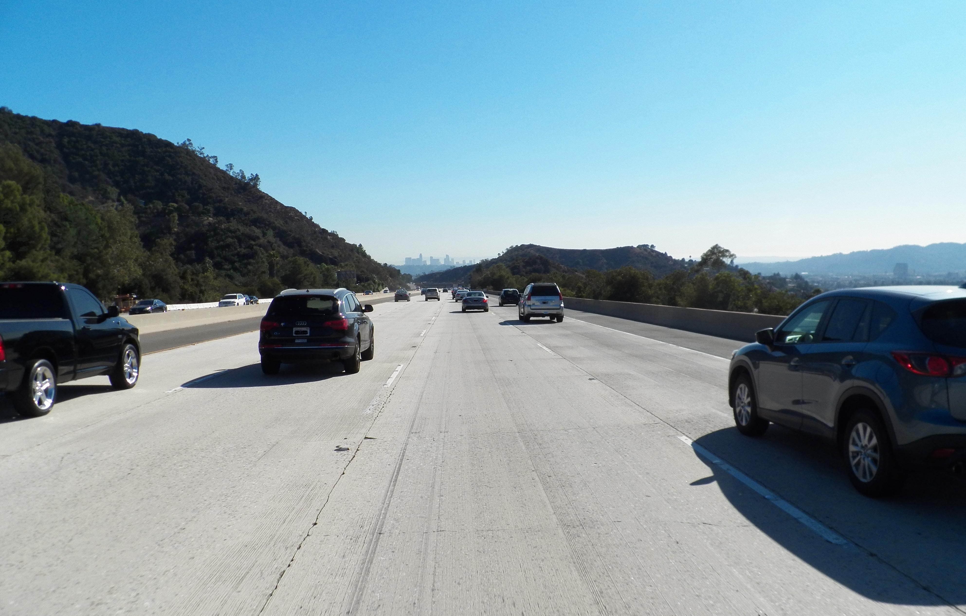 Over the hill to LA, California, Car, Freeway, Horizon, HQ Photo