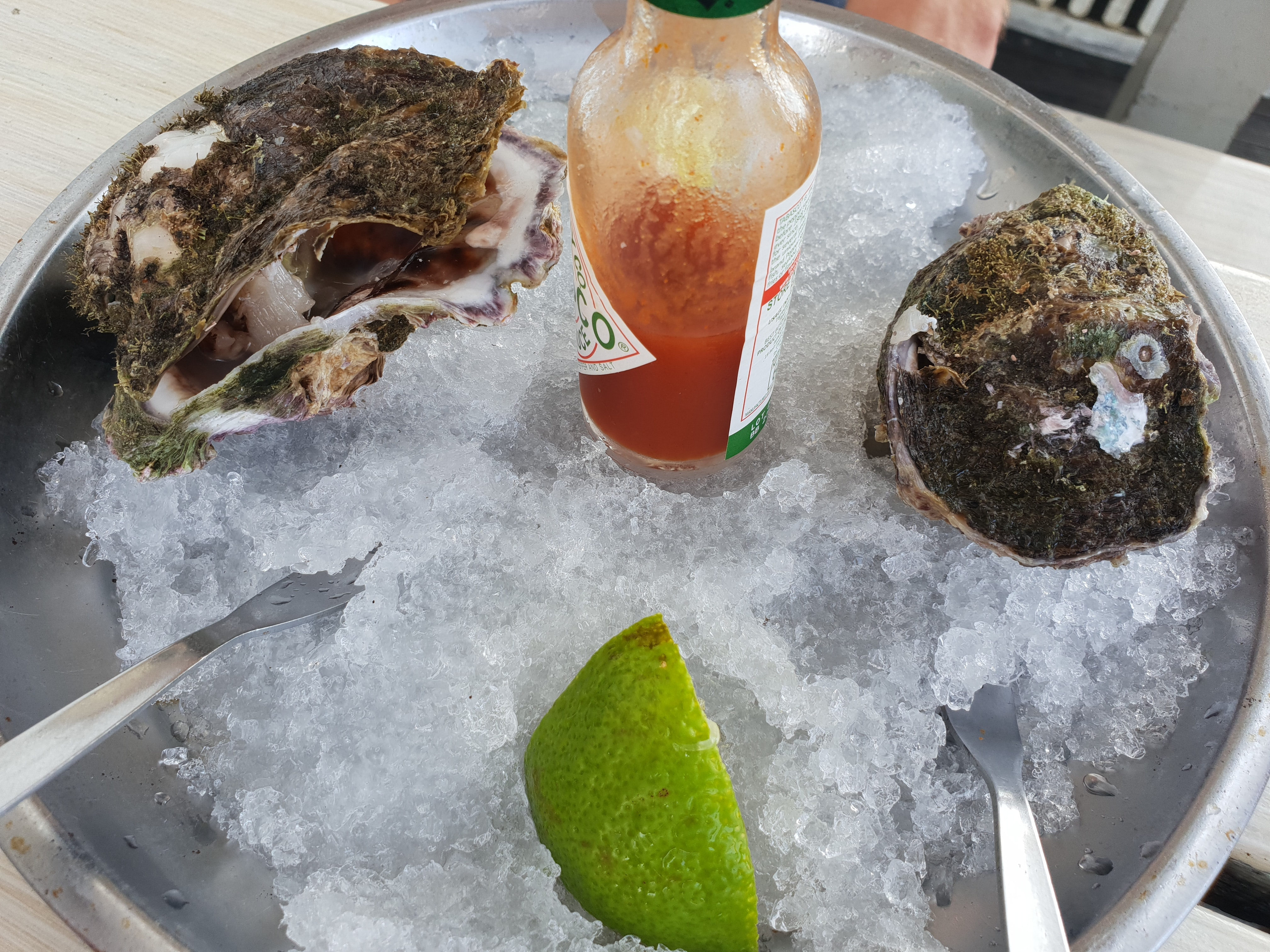 Oysters dish on the ice with tobasco souce photo