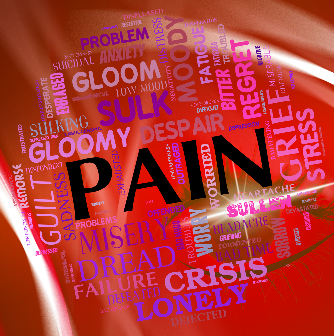 Pain word represents torment discomfort and text photo