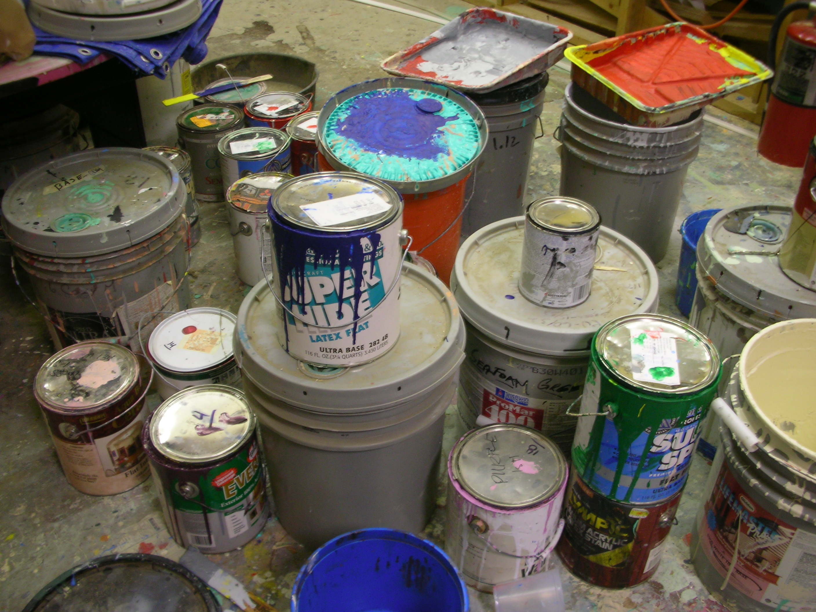 Paint cans, Cans, Colors, Cover, Dripping, HQ Photo