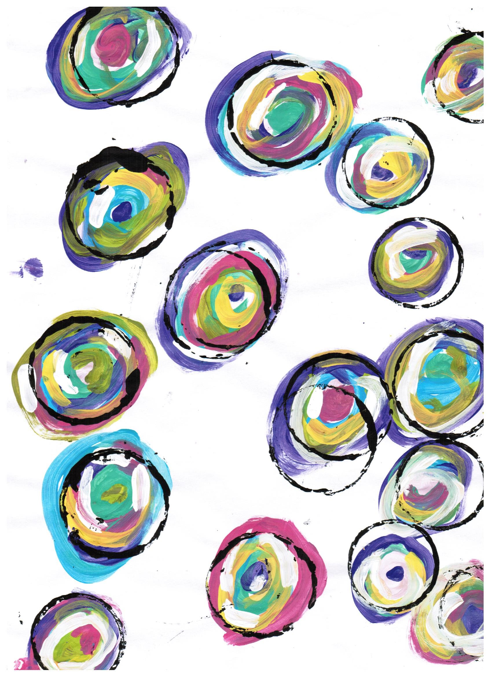 How to make multi- color painted circles for mixed media/ Tutorial ...