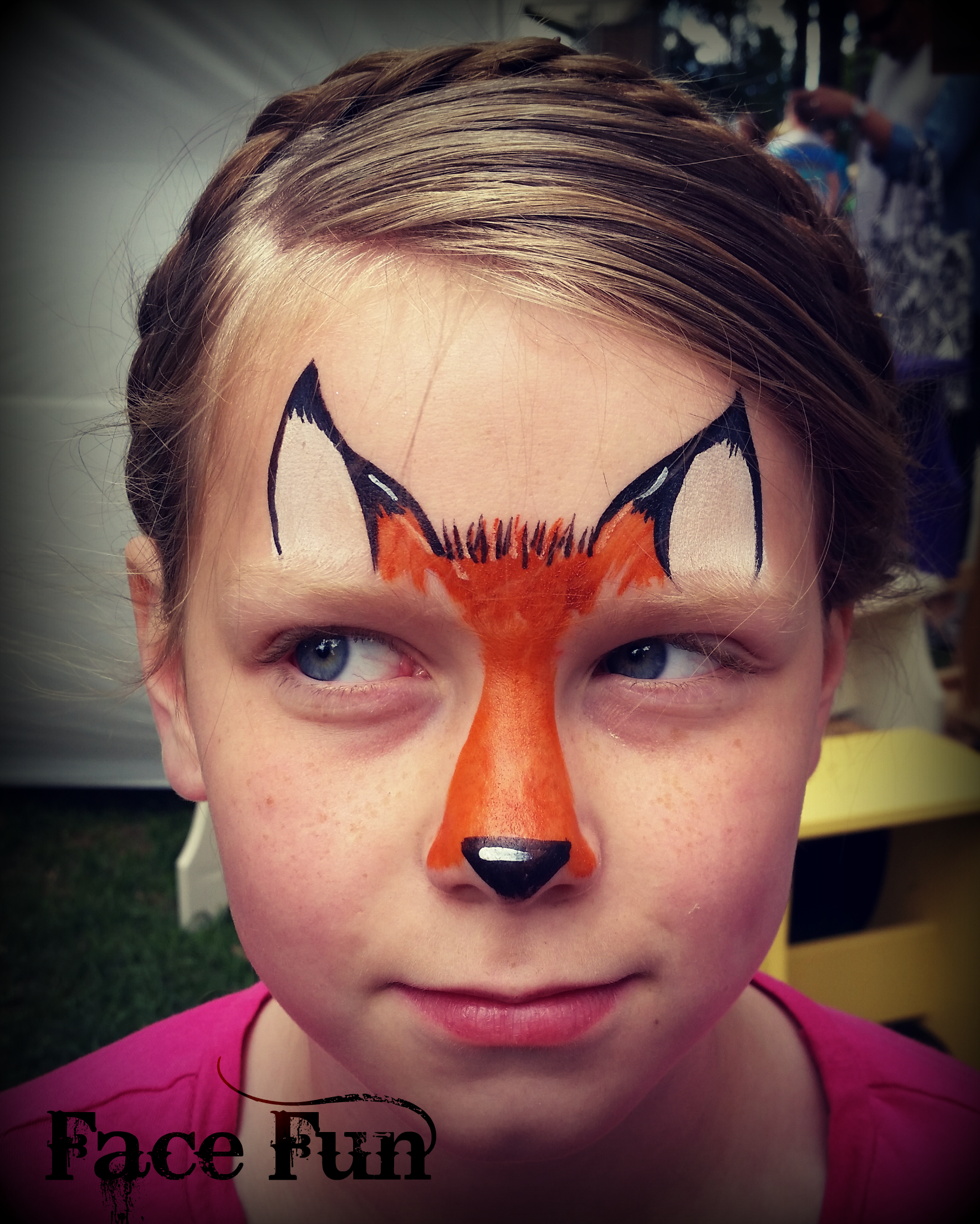 A cute fox face painting design. Painted by Lizz Daley of ...