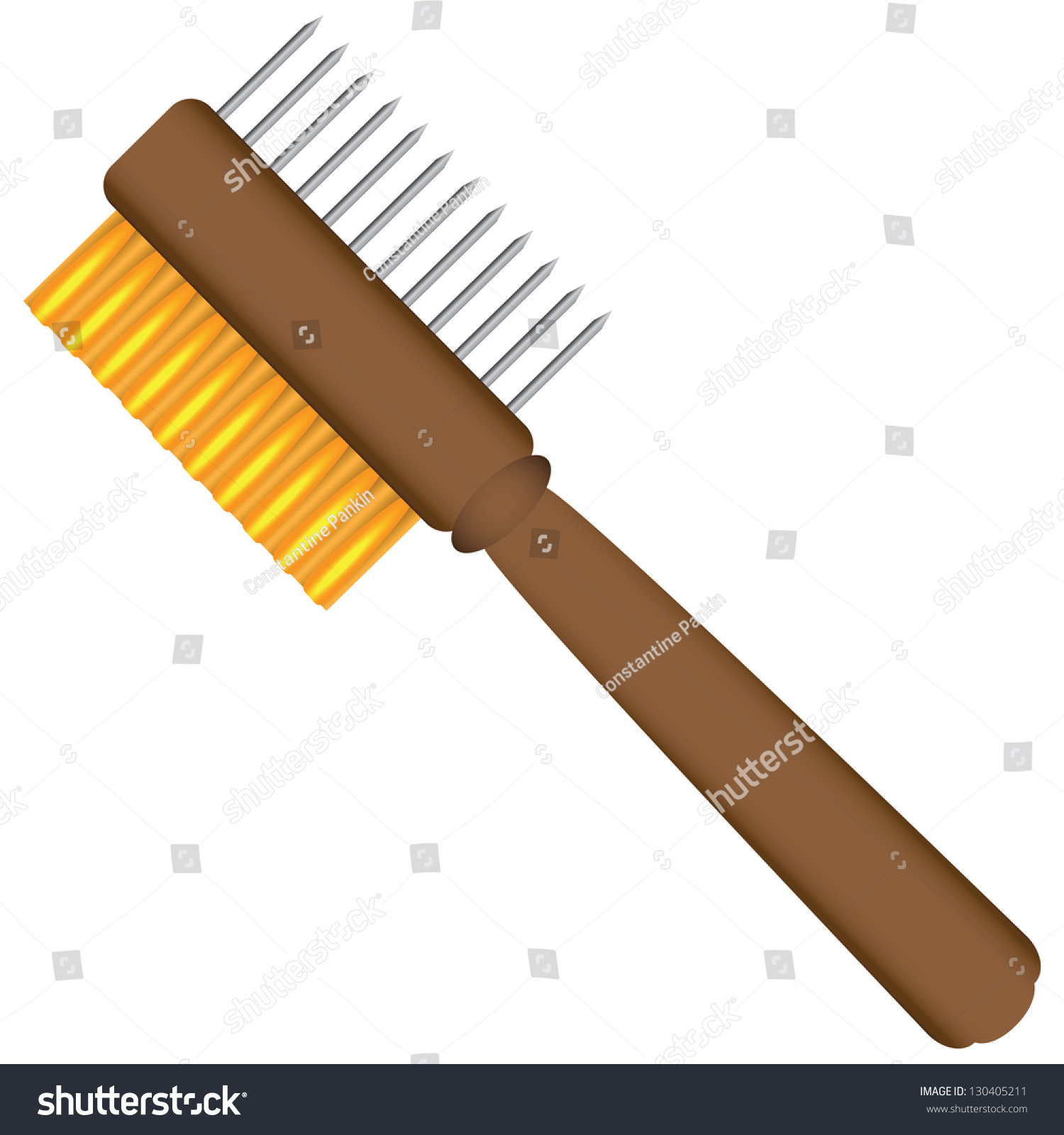 2 Sided Painters Comb Cleaning Paint Stock Vector 130405211 ...