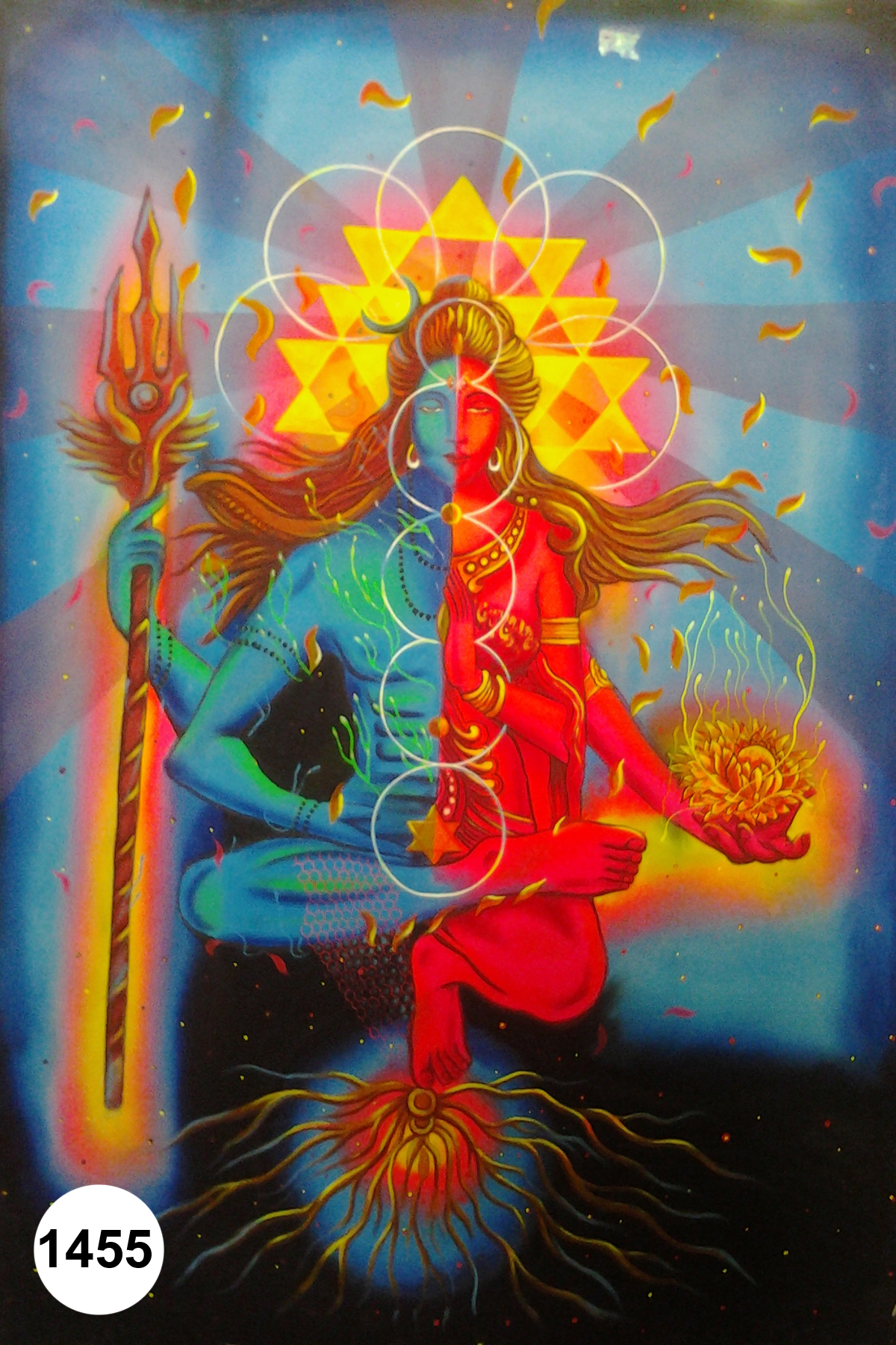 Shiv parvati, Fluorescent painting Glow in dark, UV Glow 1455 ...