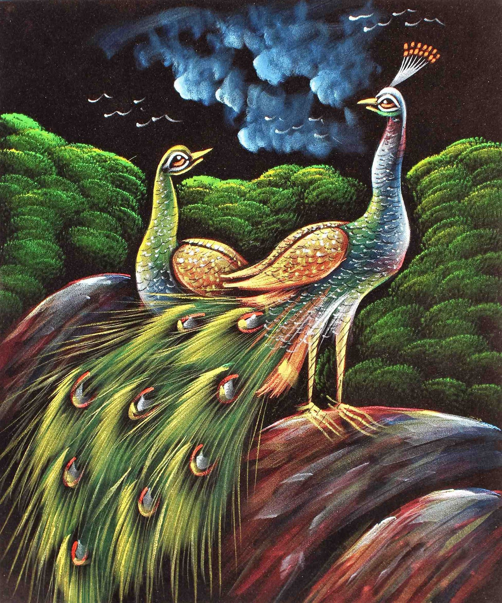 Flashing Painting Of Love Birds Peacock & Peahen In Silent Night ...