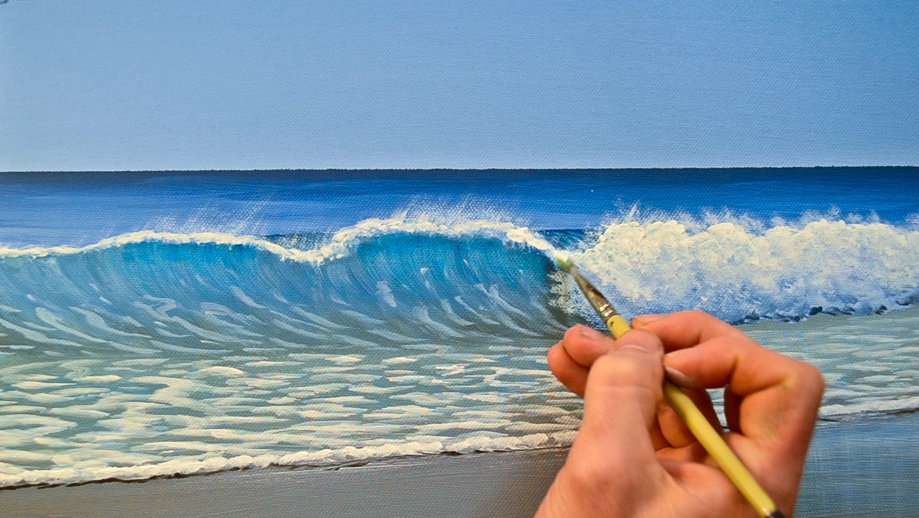 How to Paint a Wave in Acrylics - YouTube