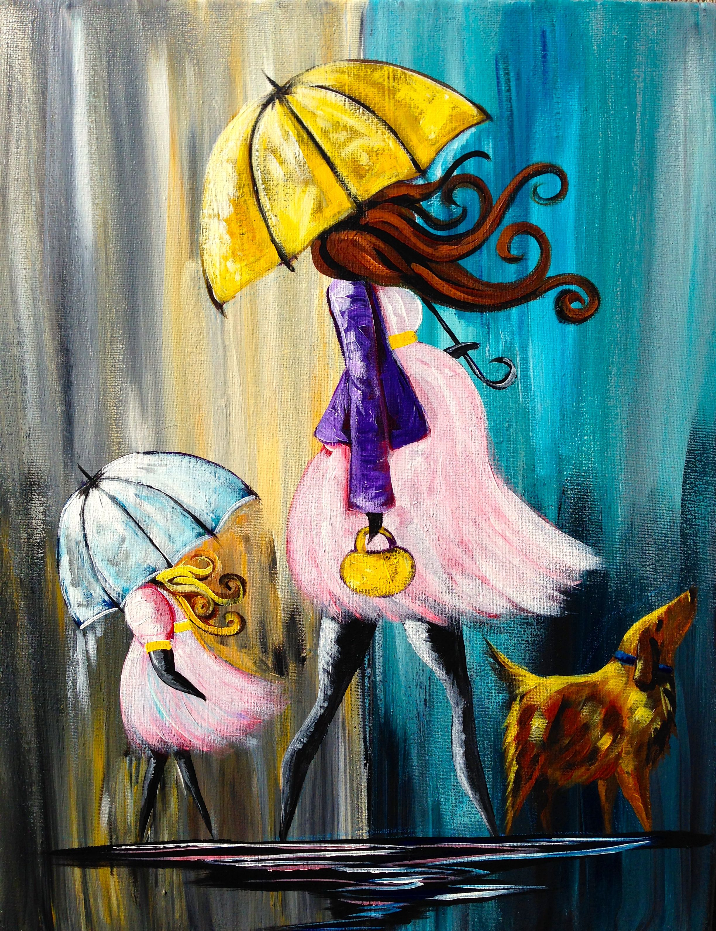 How to Paint a Baby Shower Umbrella Rainy Day painting Full lesson ...