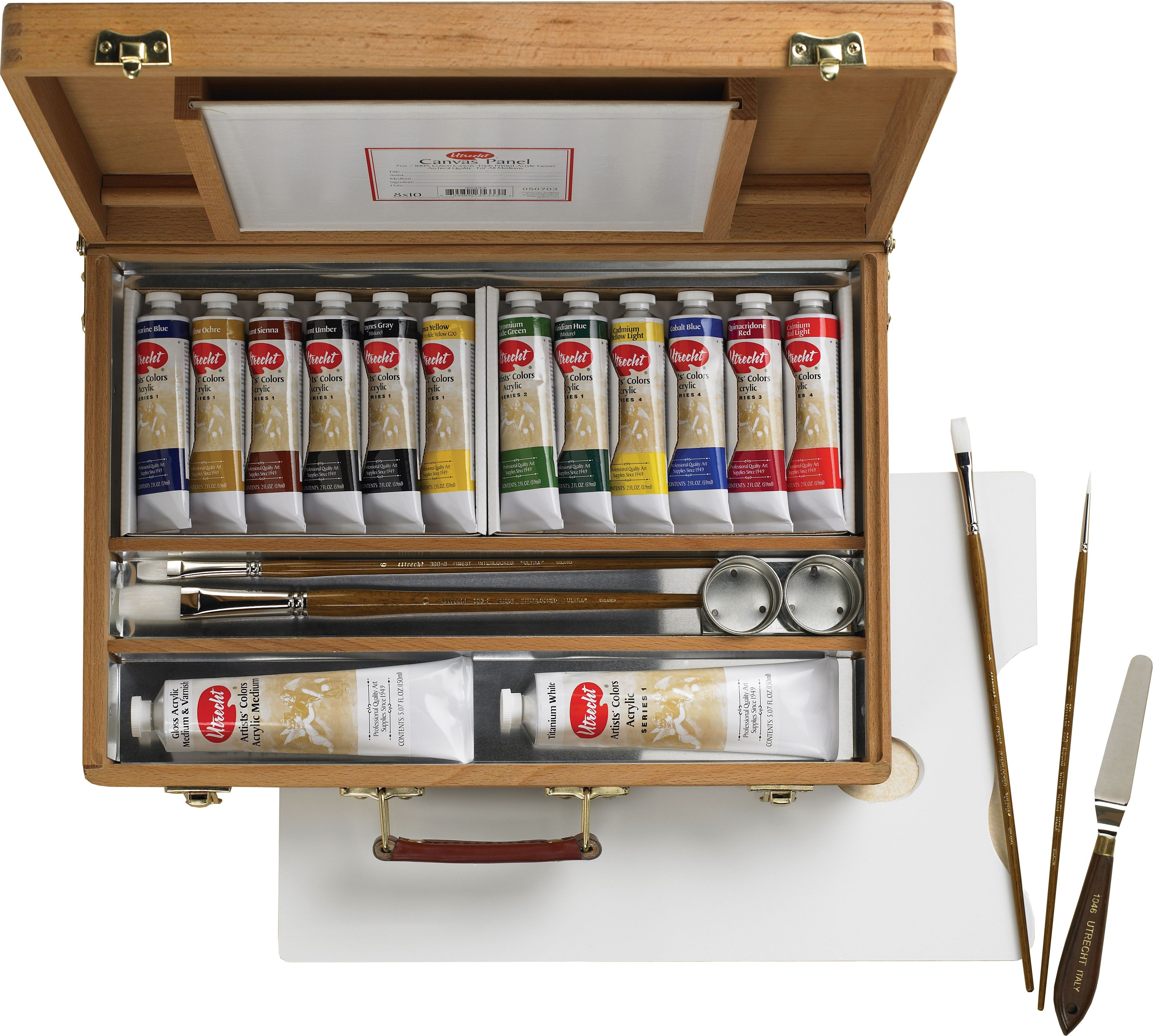 Save On Discount Utrecht Artists' Acrylic Paint Set, Deluxe Wood Box ...