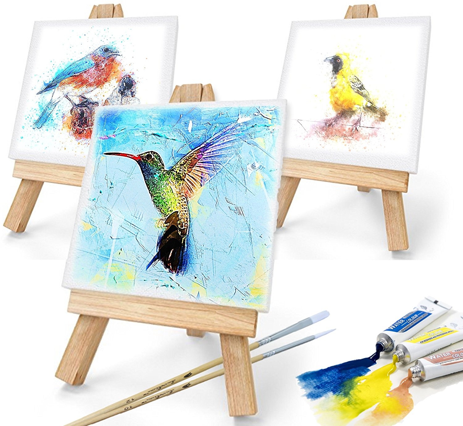 "Daveliou Mini Canvas Painting Set 3""x3"" - Blank Stretched Framed ..."