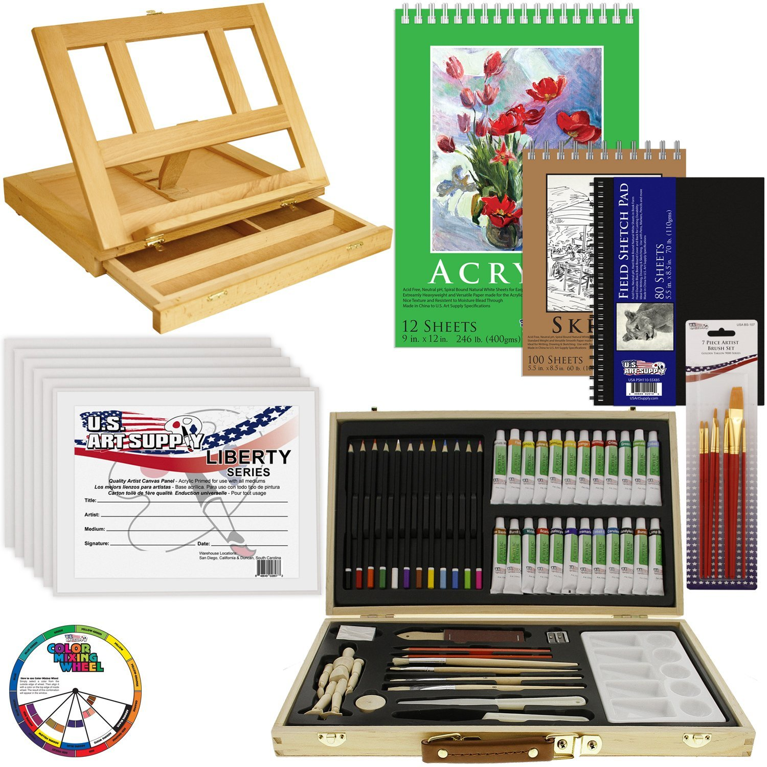 68pc Artist Acrylic Painting Set - Wood Table Easel, Paint, Canvas ...