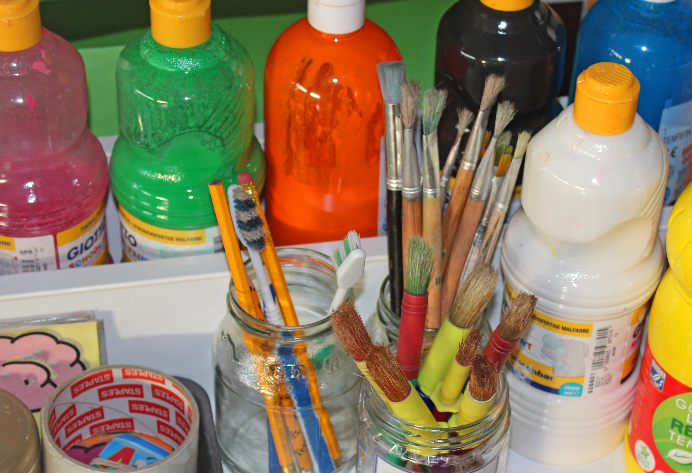 Paints and paintbrushes - paints for kids photo