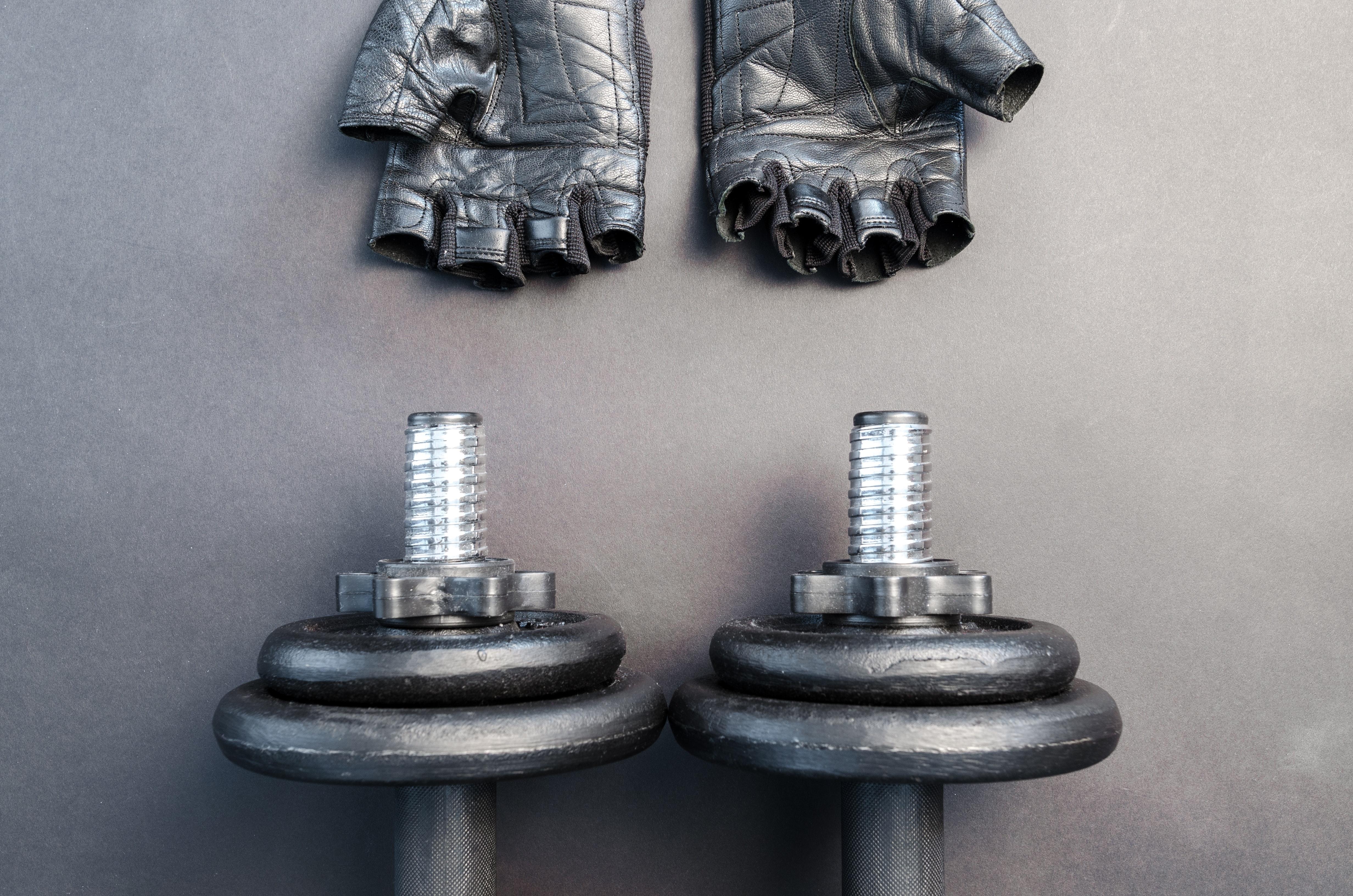 Pair of Fingerless Gloves and Adjustable Dumbbells, Dumbbells, Equipment, Gloves, Gym, HQ Photo