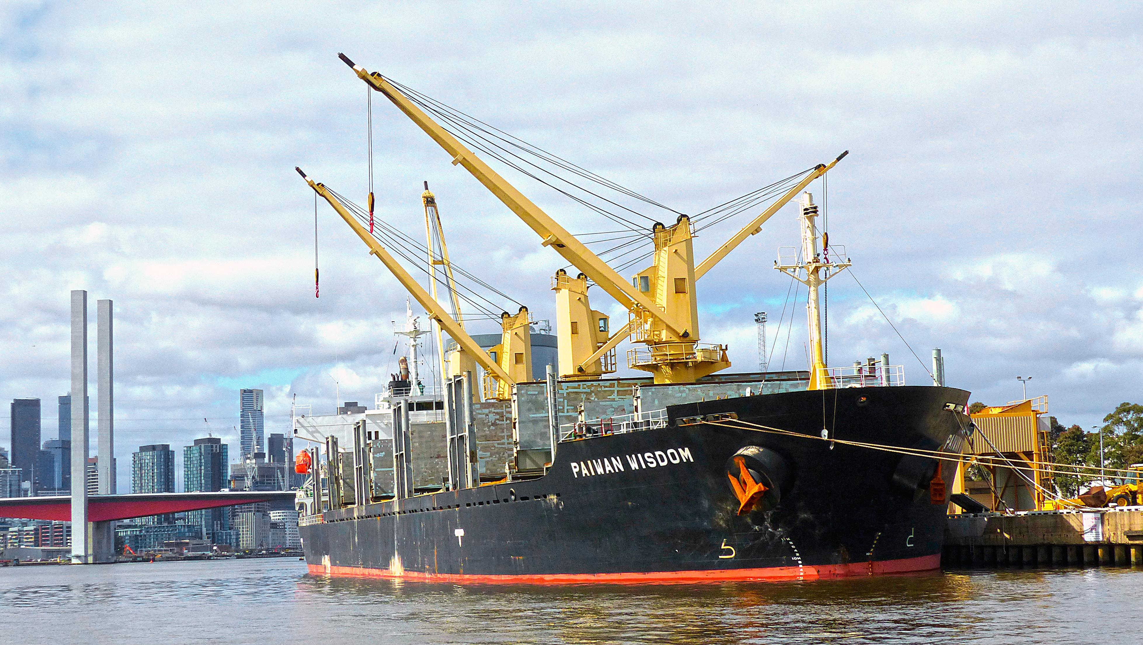 PAIWAN WISDOM. Bulk Carrier, Boat, Boats, Cargo, Cranes, HQ Photo