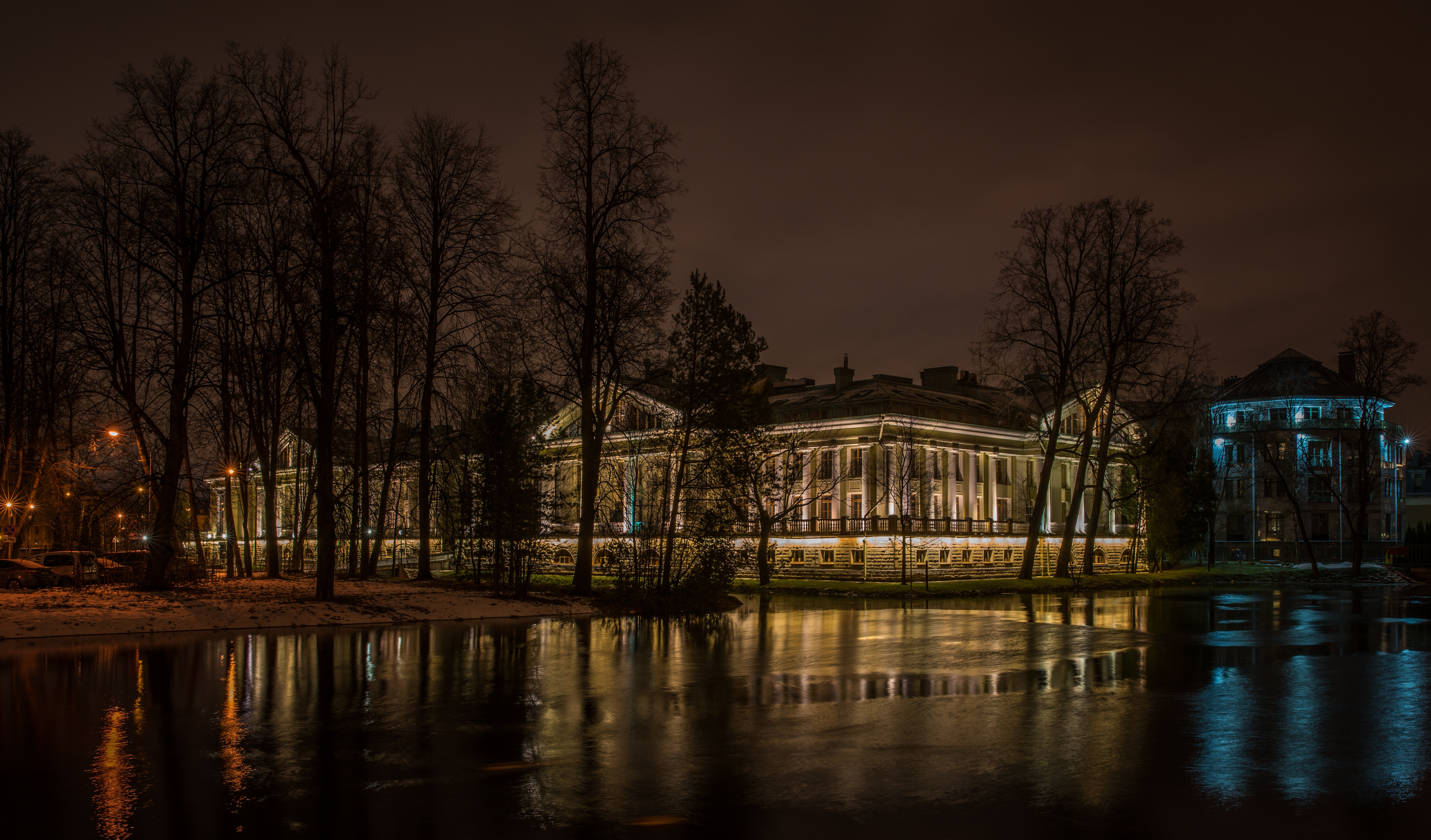 Palace during Night Time, Reflections, Palace, Outdoors, Silhouette, HQ Photo