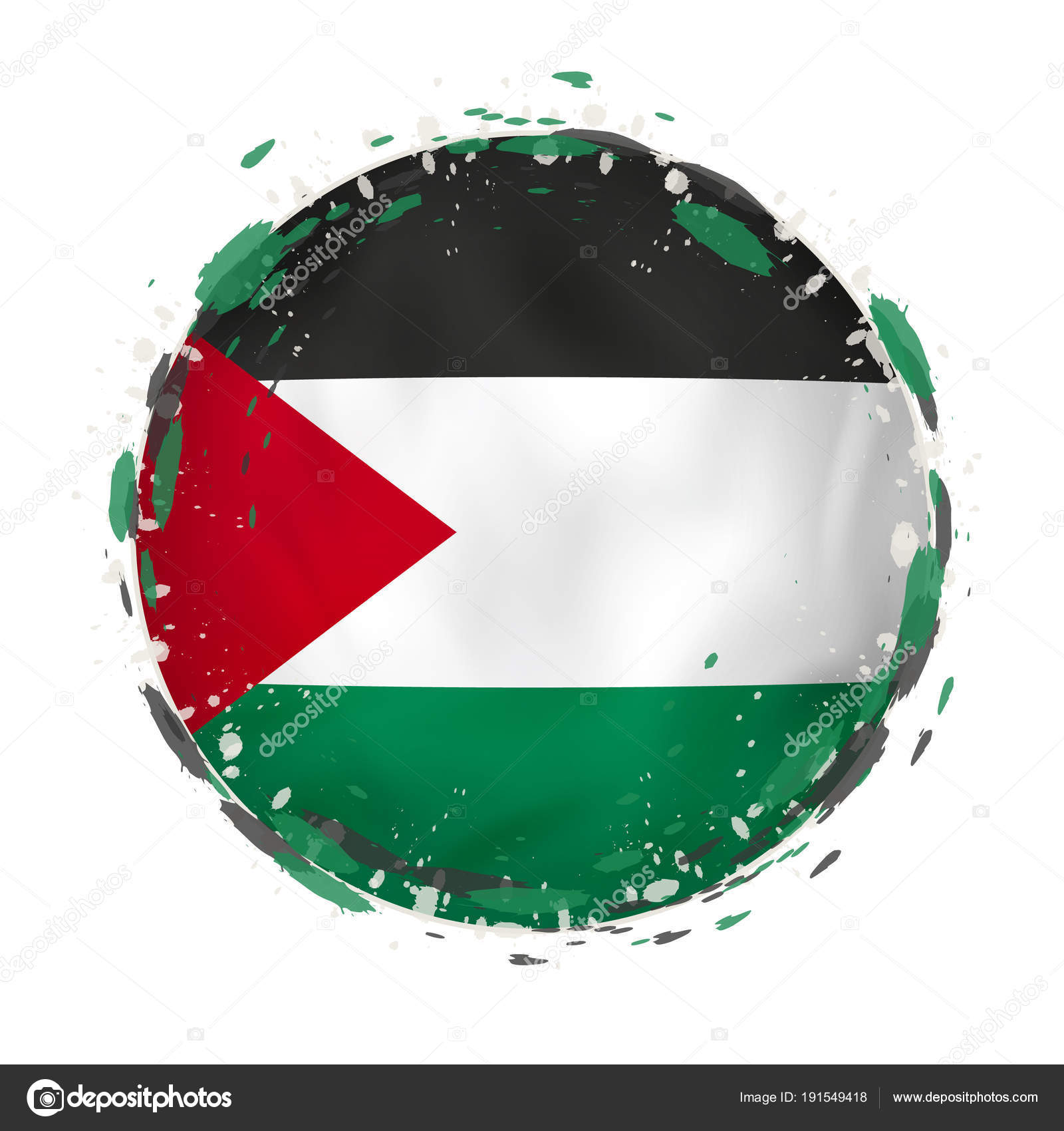 Round grunge flag of Palestine with splashes in flag color. — Stock ...