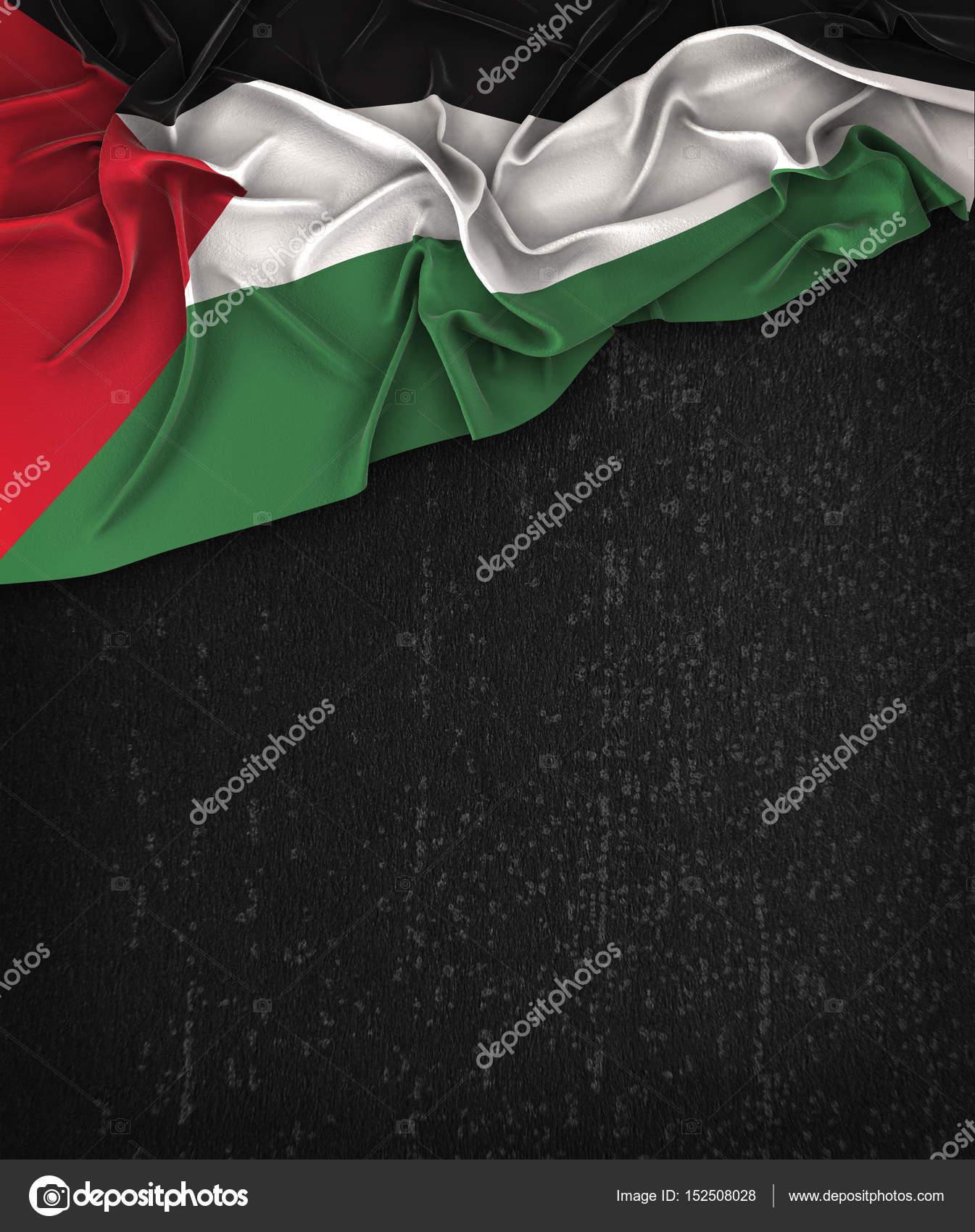 Palestine Flag Vintage on a Grunge Black Chalkboard With Space F ...