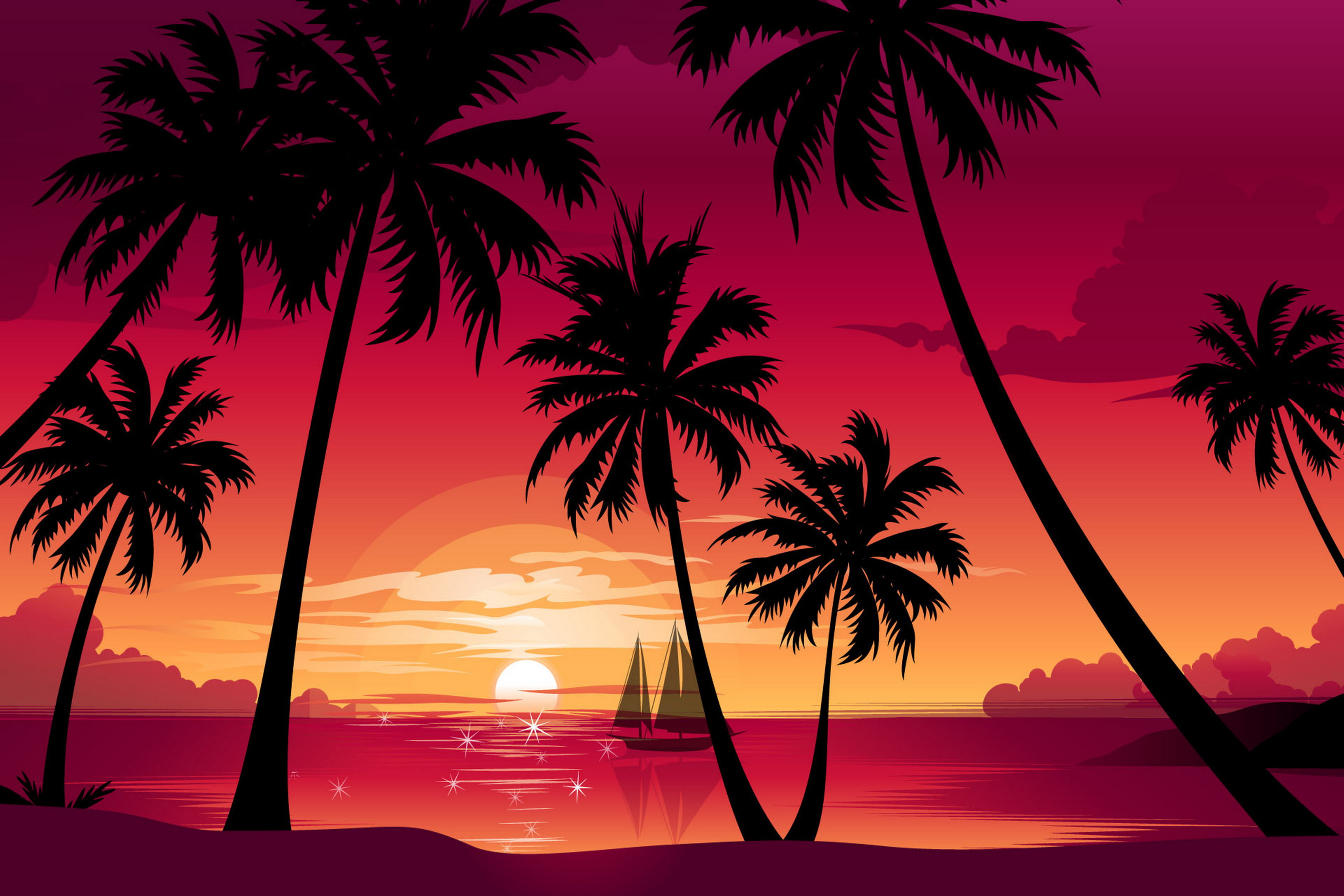 Nature palm trees beach sea boat sun sunset vector Living room home ...