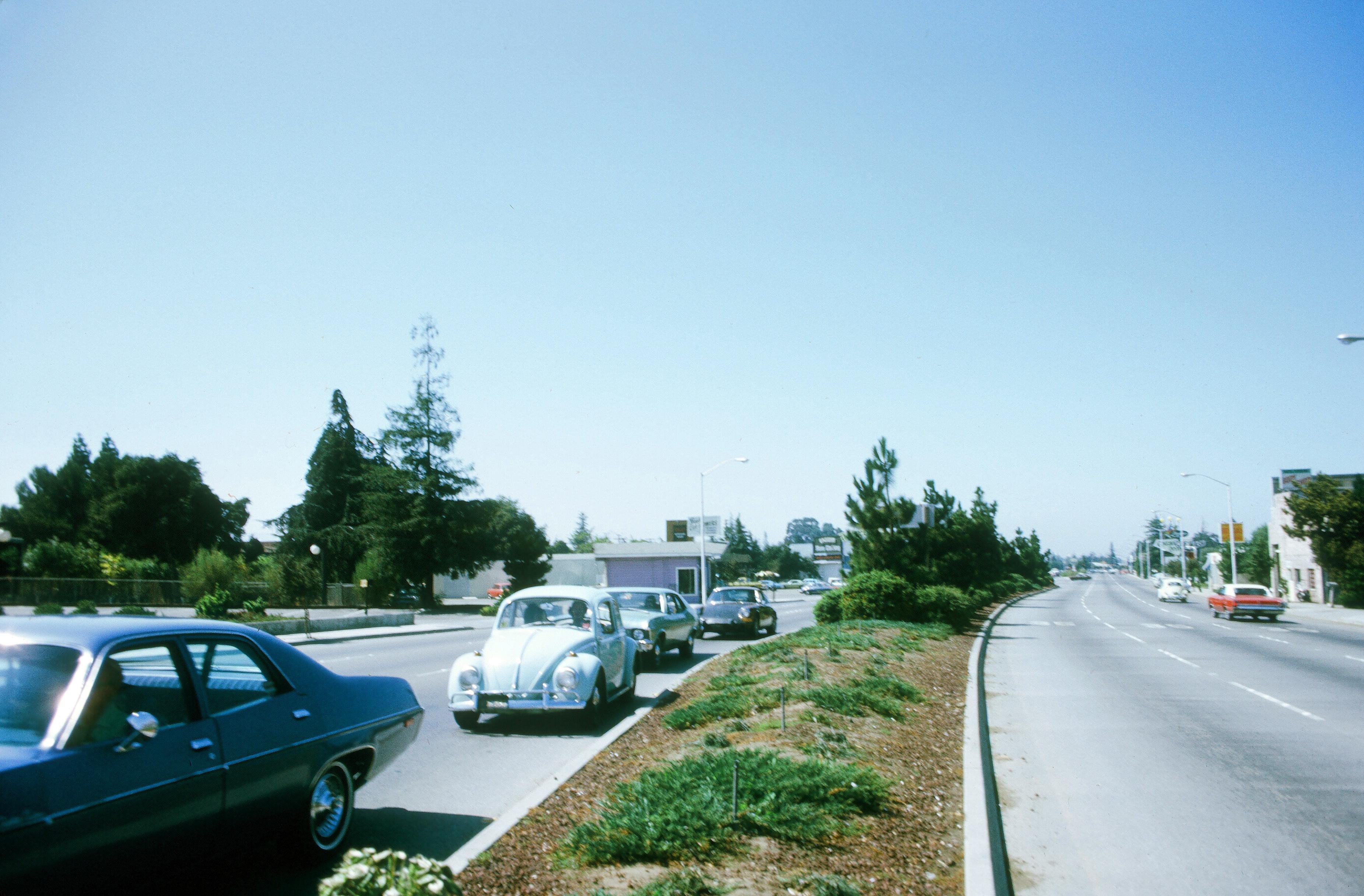 Palo Alto El Camino Real (August 1973), 1973, California, Car, Grass, HQ Photo